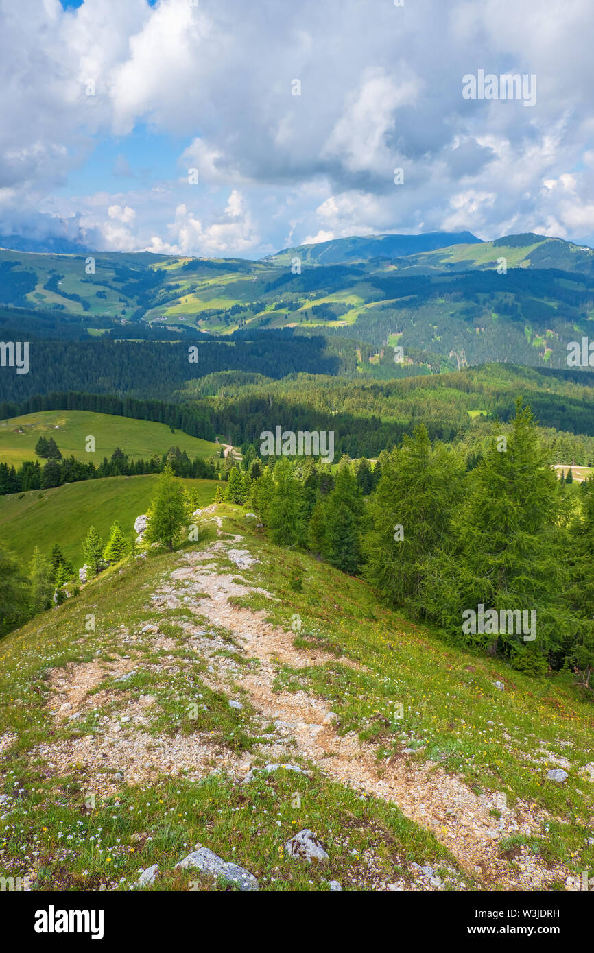 Hiking trail on a ridge in a beautiful landscape - Stock Image