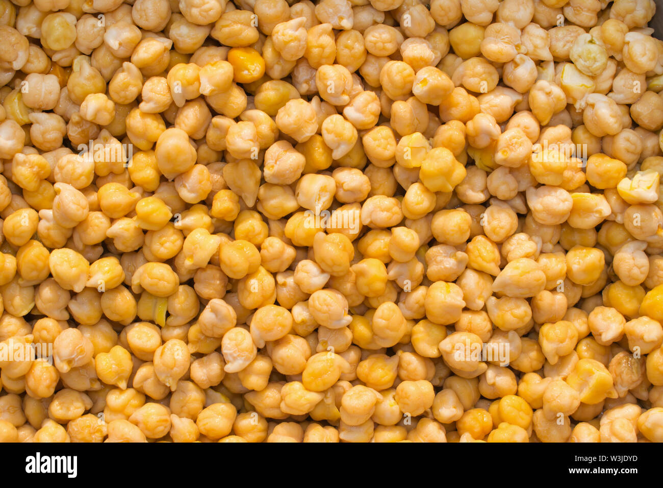 close up of pile of yellow chick peas,pile of cooked kabuli chick peas. Stock Photo