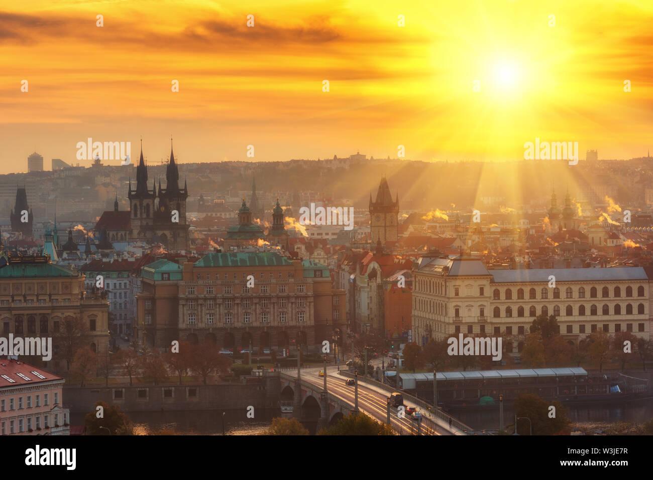 Golden sunrise over Prague old town, colorful cityscape, Czech Republic - Stock Image