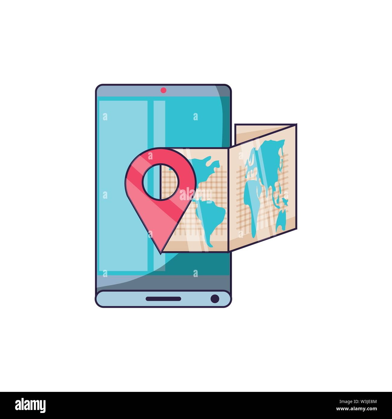 smartphone with paper map travel app vector illustration design - Stock Image