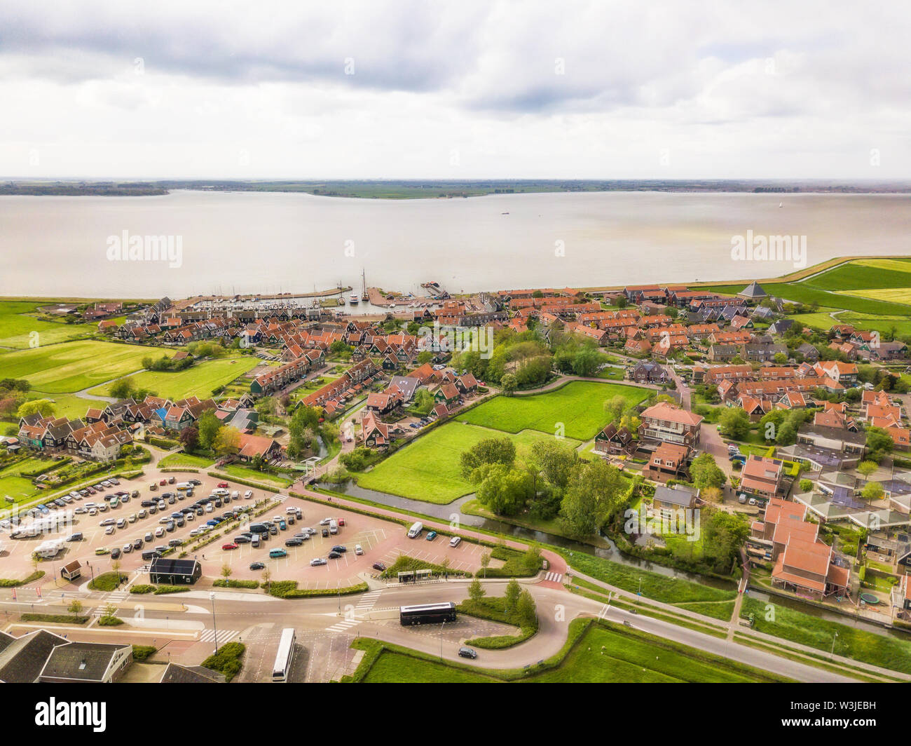 Aerial view of Marken, a small Dutch island in the Markermeer / Ijsselmeer on the North Sea coast. - Stock Image