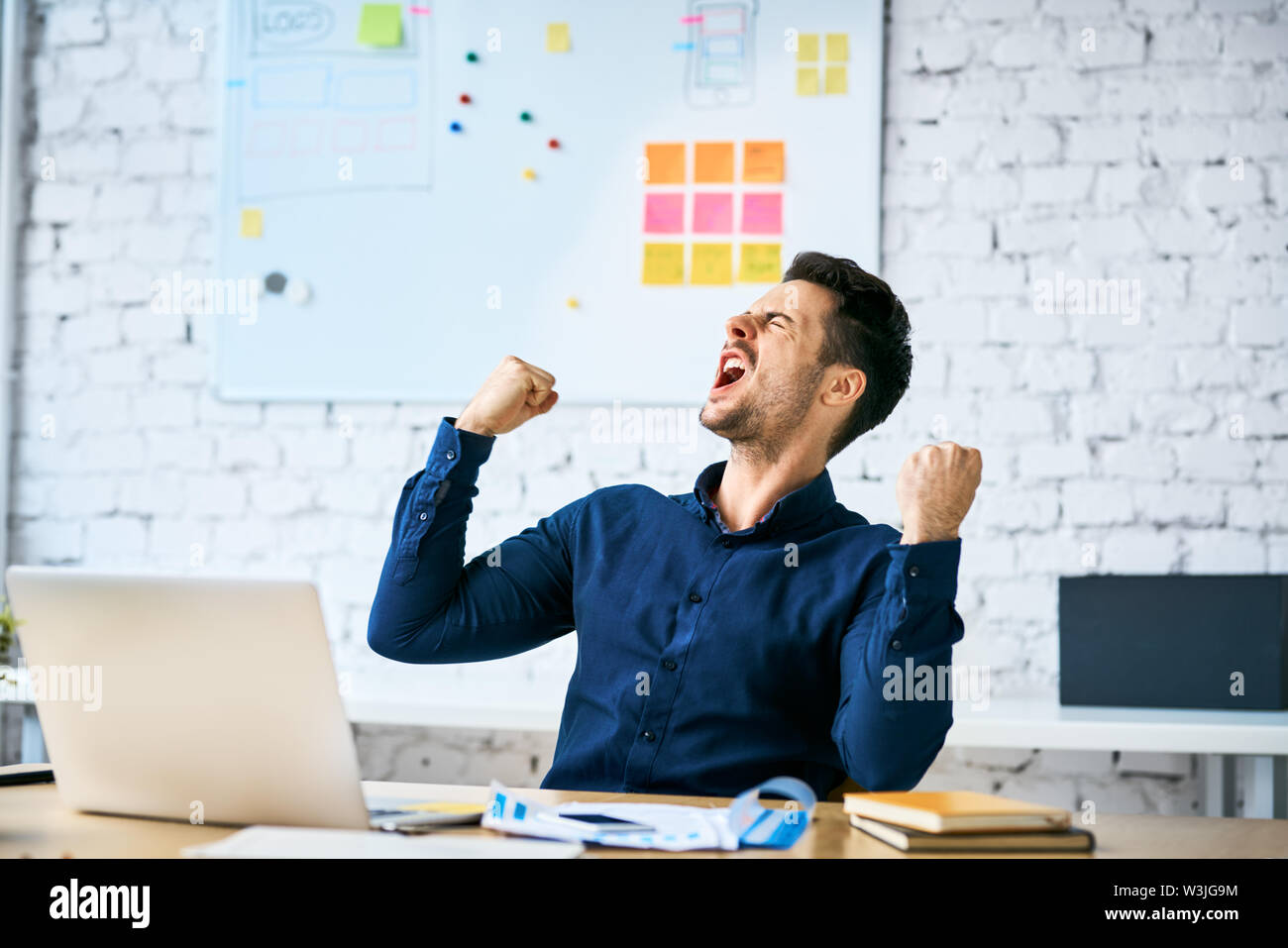 Ecstatic web developer screaming in joy and making gestures celebrating success while sitting in office - Stock Image
