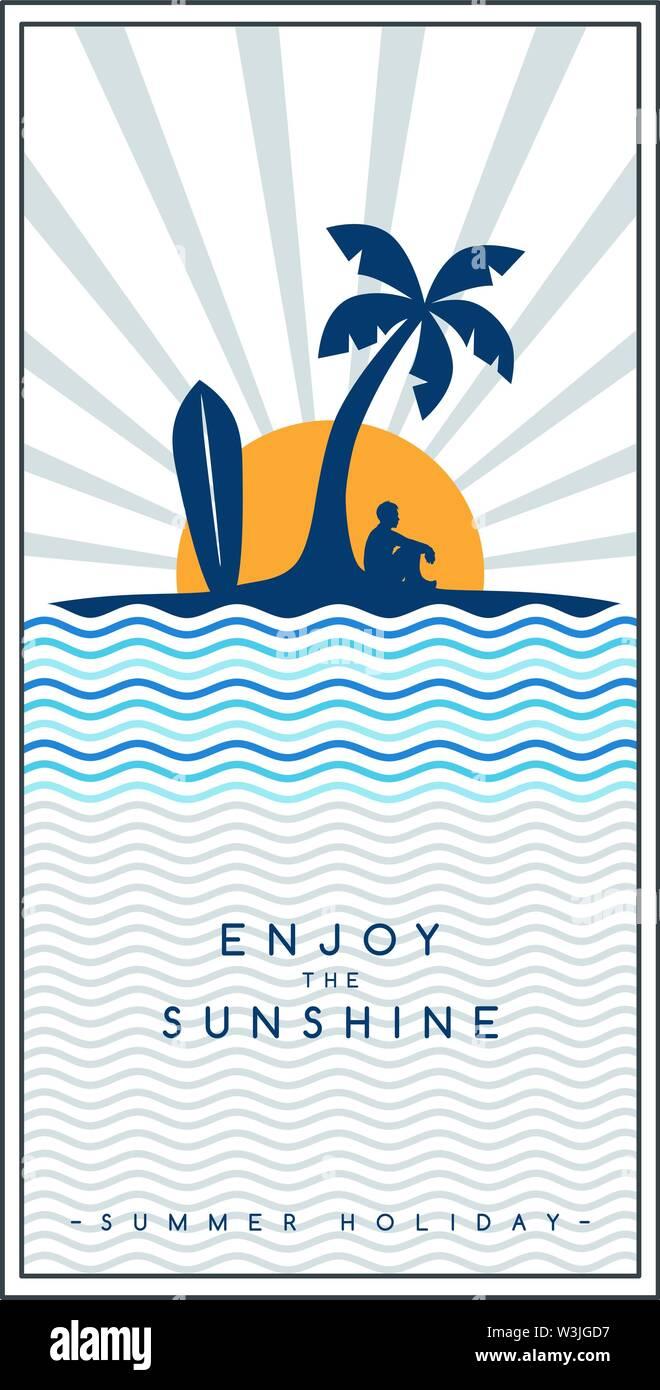 tropical island summer vacation beach holiday vector art - Stock Image