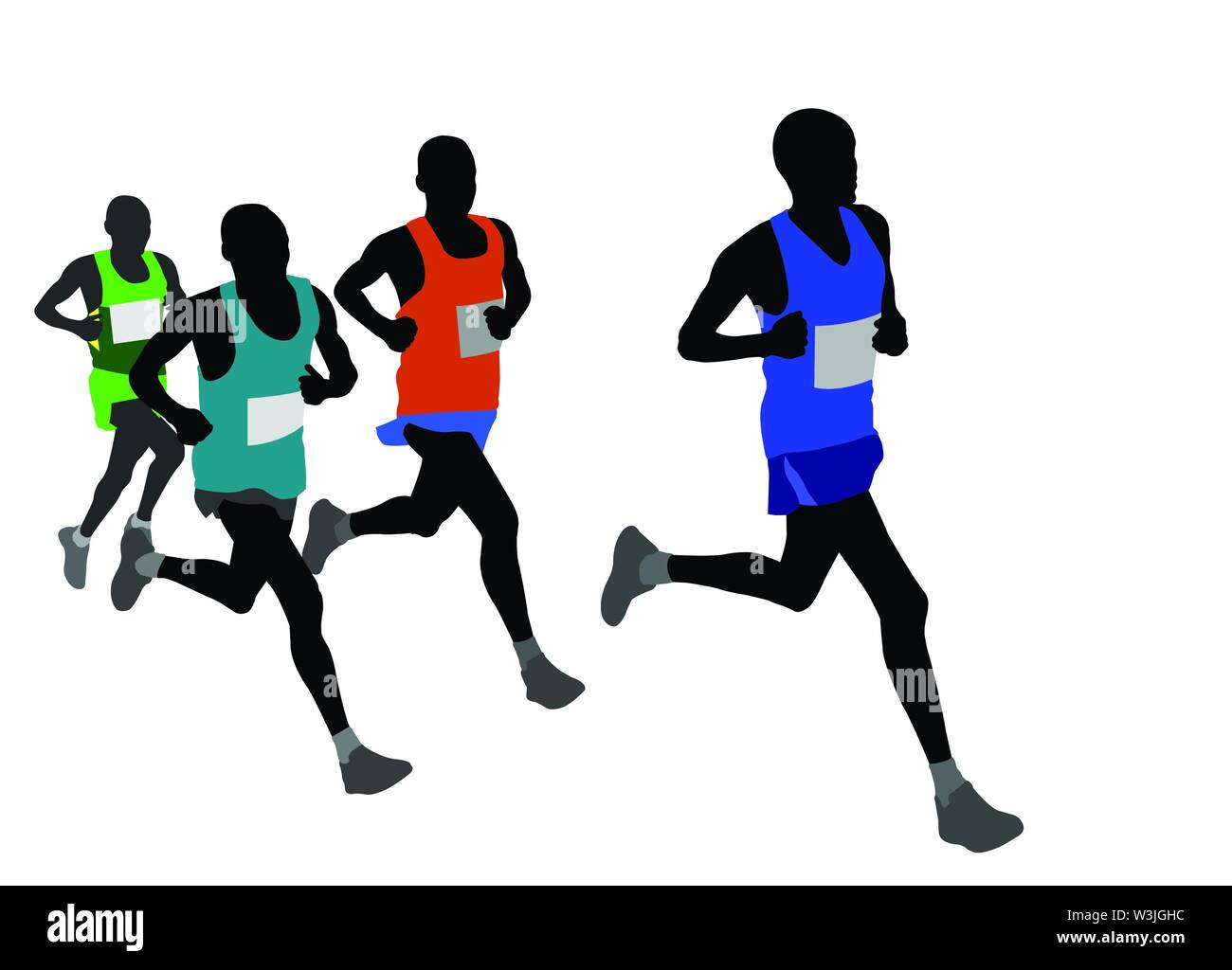 group of marathon runners silhouettes - vector Stock Vector