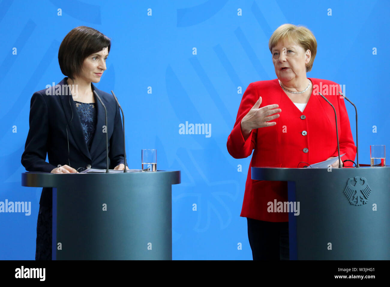 Berlin, Germany. 16th July, 2019. Federal Chancellor Angela Merkel (CDU, r) and Maia Sandu, Moldovan Prime Minister, answer questions from journalists in the Federal Chancellery. Credit: Wolfgang Kumm/dpa/Alamy Live News - Stock Image