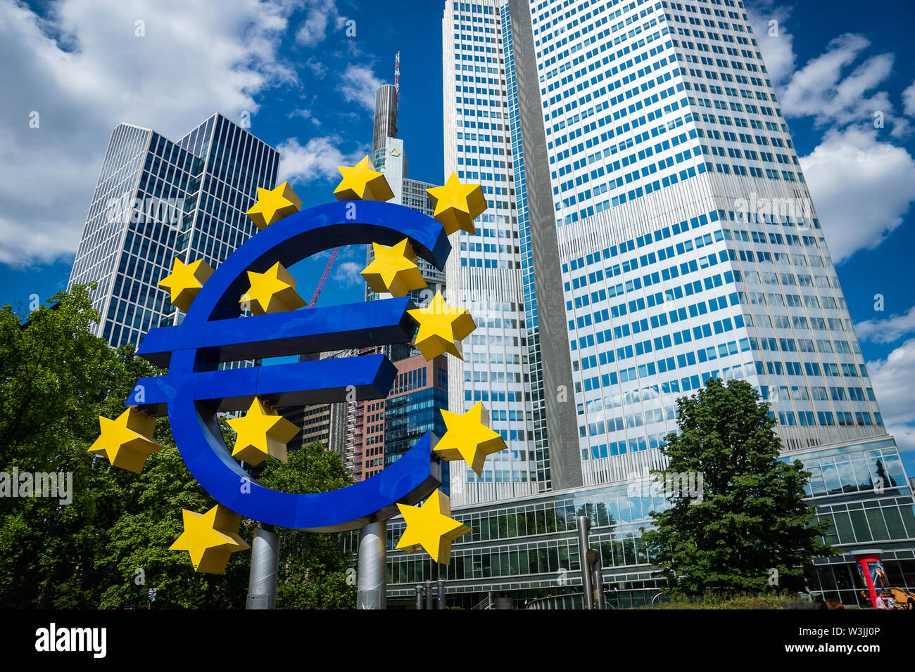 Frankfurt, Germany - July 2019: Euro Sign at European Central Bank (ECB), the central bank for the euro and administers the monetary policy of the EU Stock Photo