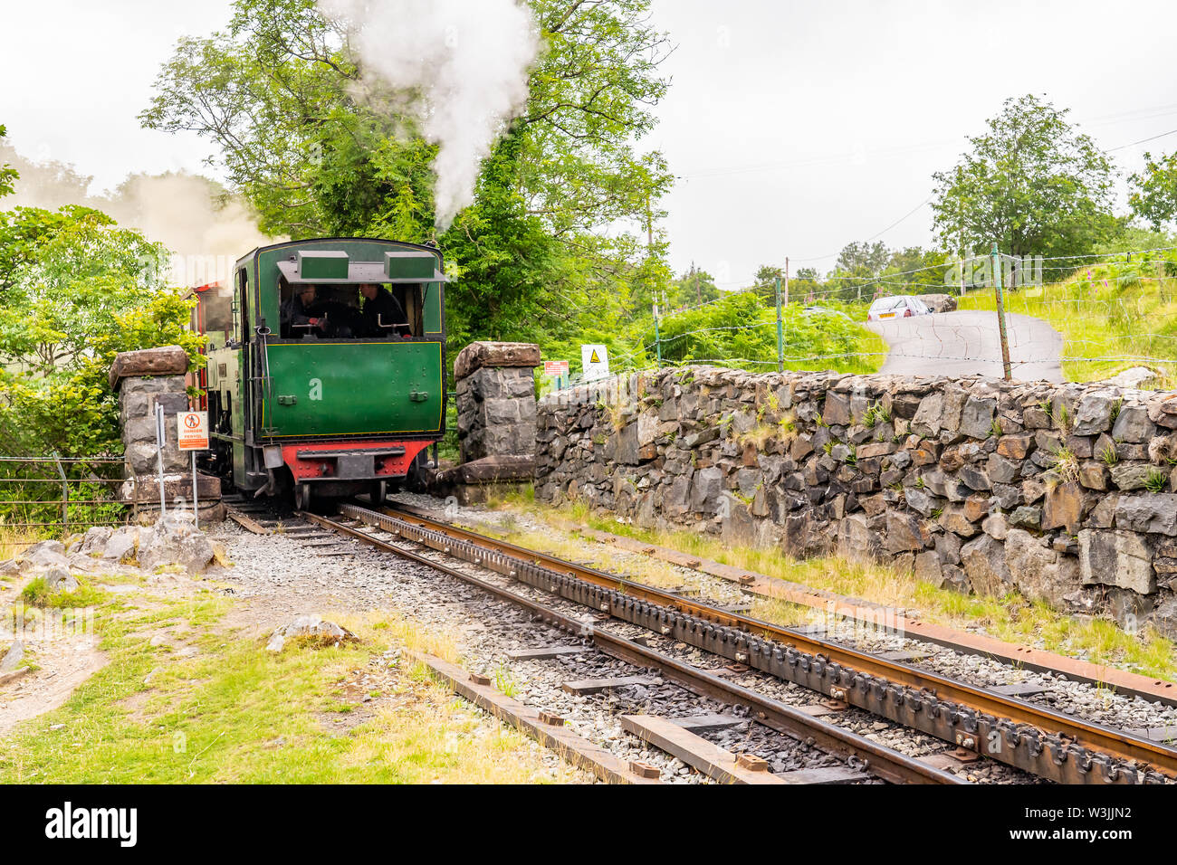 Mount Snowdon Railway, Llanberis, North Wales. One of the traditional steam engines used to push the passenger carriage to the summit of Mount Snowdon - Stock Image