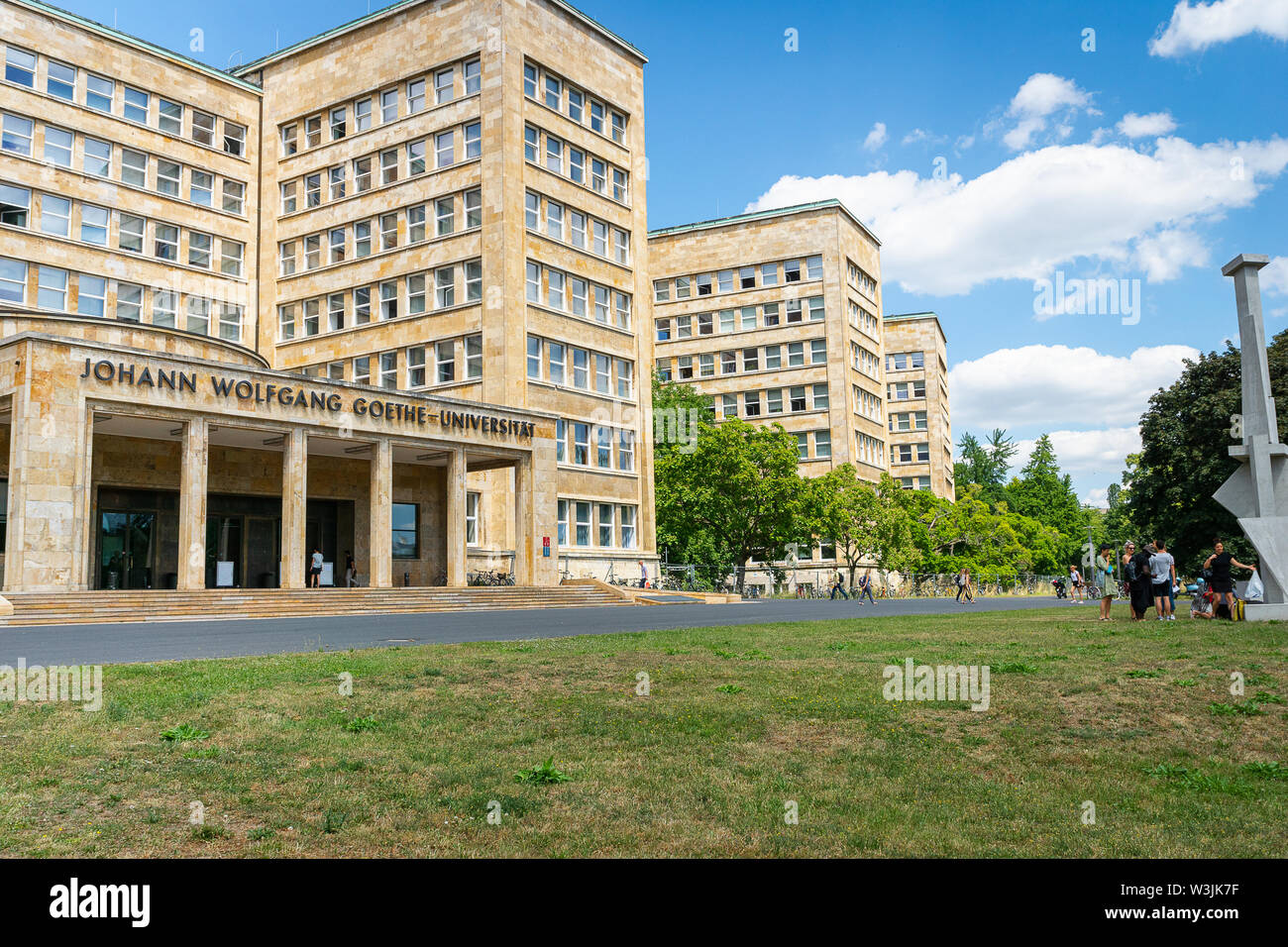 Frankfurt, Germany - July 2019: Frankfurt Goethe University Westend campus main building. The building is famous as historical IG Farben building. Stock Photo