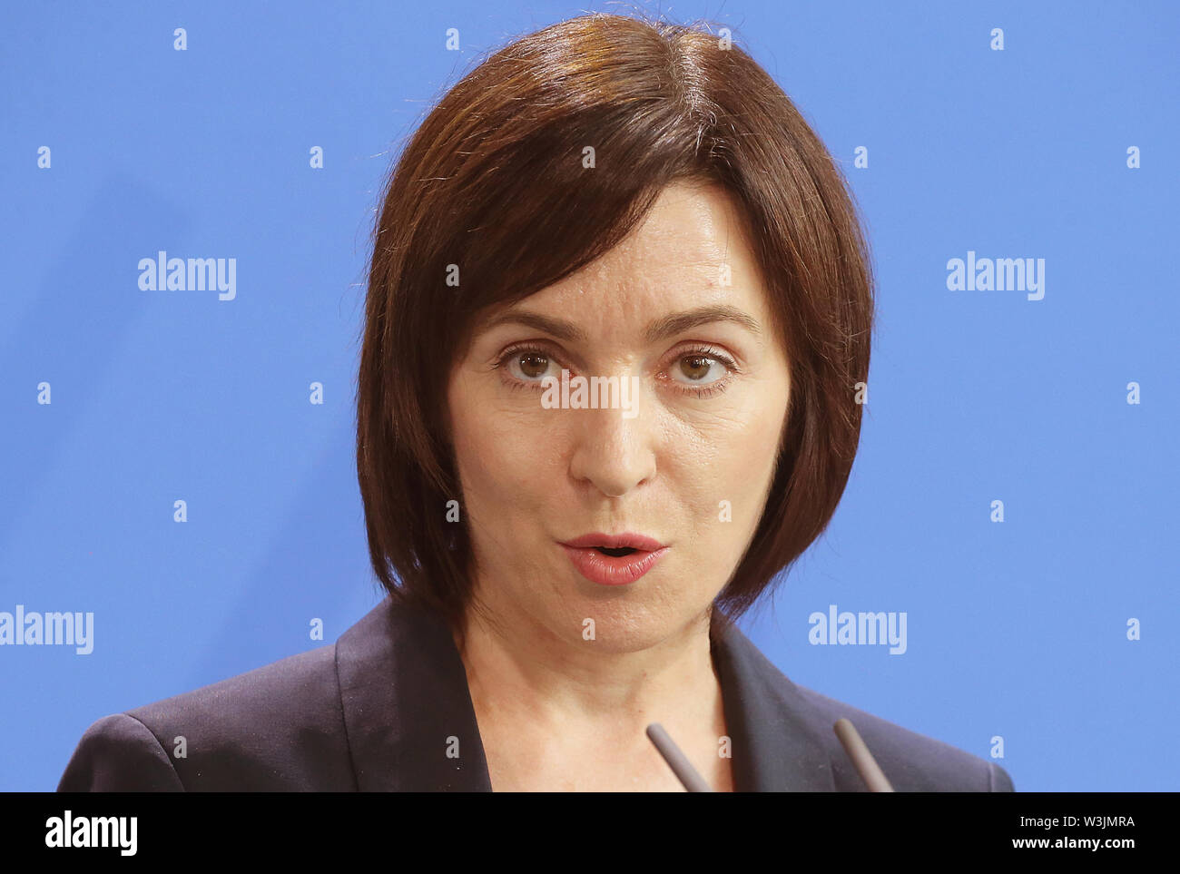 Berlin, Germany. 16th July, 2019. Maia Sandu, Moldovan Prime Minister, answers questions from journalists in the Federal Chancellery after her meeting with the Chancellor. Credit: Wolfgang Kumm/dpa/Alamy Live News - Stock Image