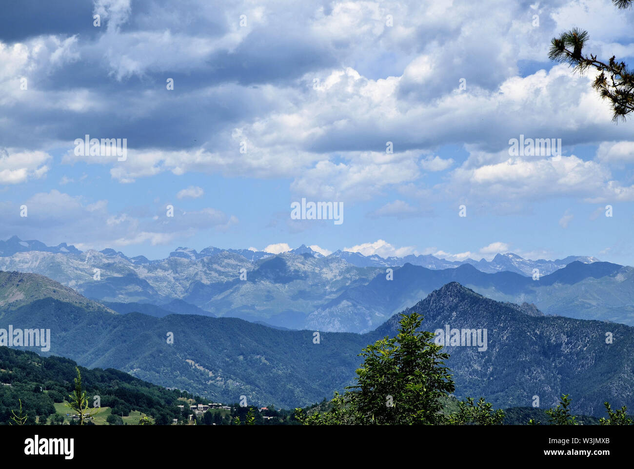 Colle del Lys, Piedmont, Italy. July 2019. Panoramic view from the lookout of the surrounding mountains. - Stock Image