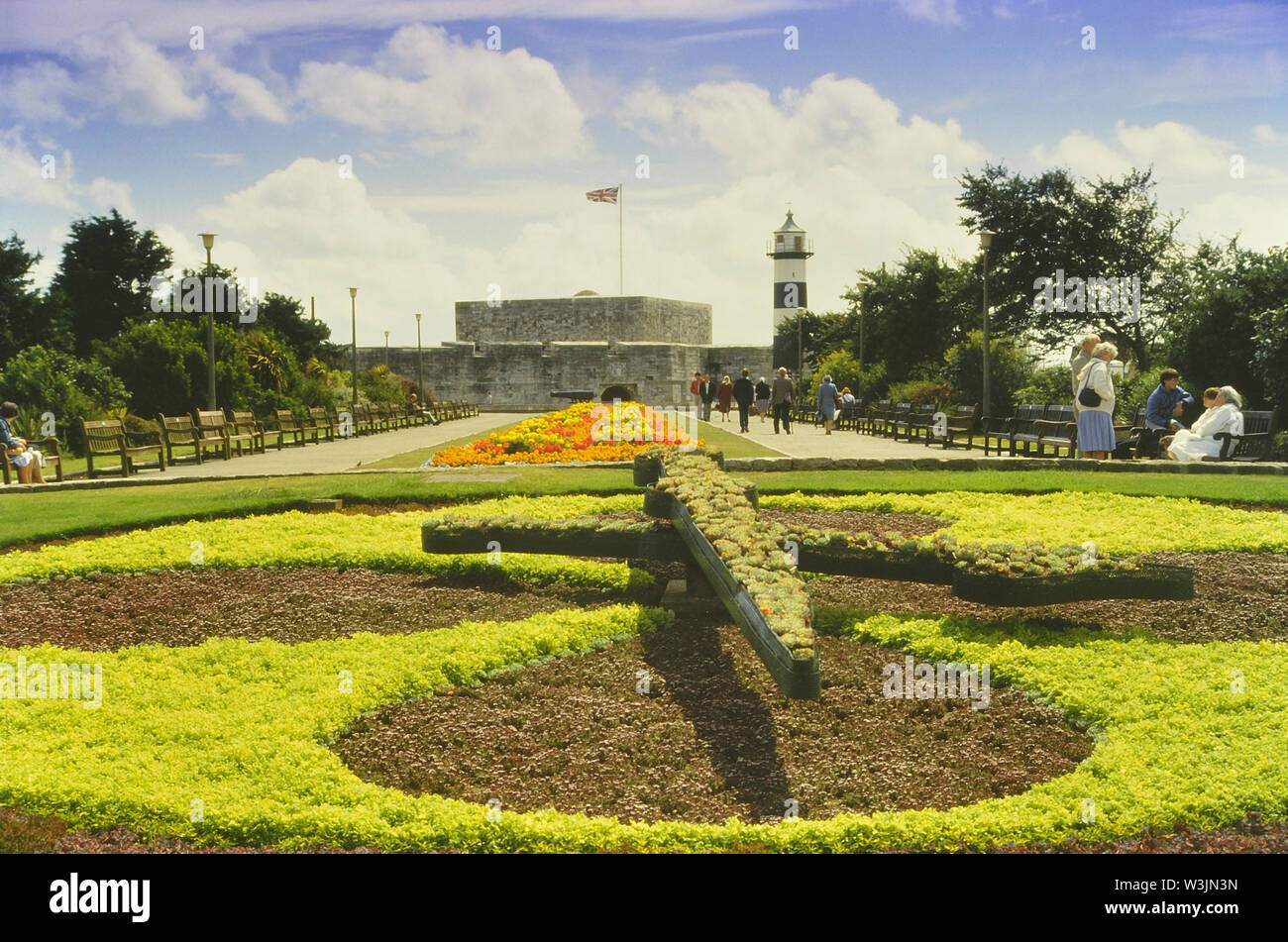 The floral clock outside the D-Day museum & Castle on Southsea seafront, Hampshire, England, UK. Circa 1980's Stock Photo