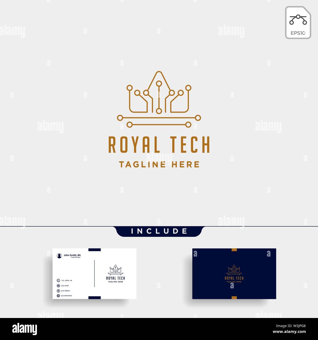 royal crown internet logo design luxury technology icon symbol sign isolated - Stock Image