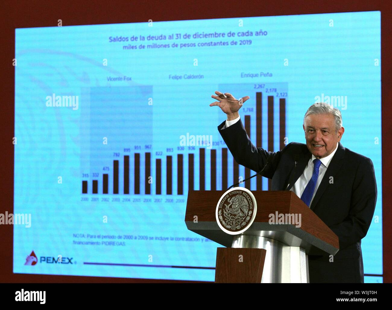 Mexican President Andres Manuel Lopez Obrador speaks during a press conference at the National Palace in Mexico City, Mexico, 16 July 2019. The Mexican Government presented the Business Plan of Petroleos Mexicanos (Pemex), that through a reduction of up to 11% of the tax burden and a multi-million dollar investment seeks to refloat the state oil company, suffering from debt and a fall in production and refining. EFE/ Mario Guzman Stock Photo