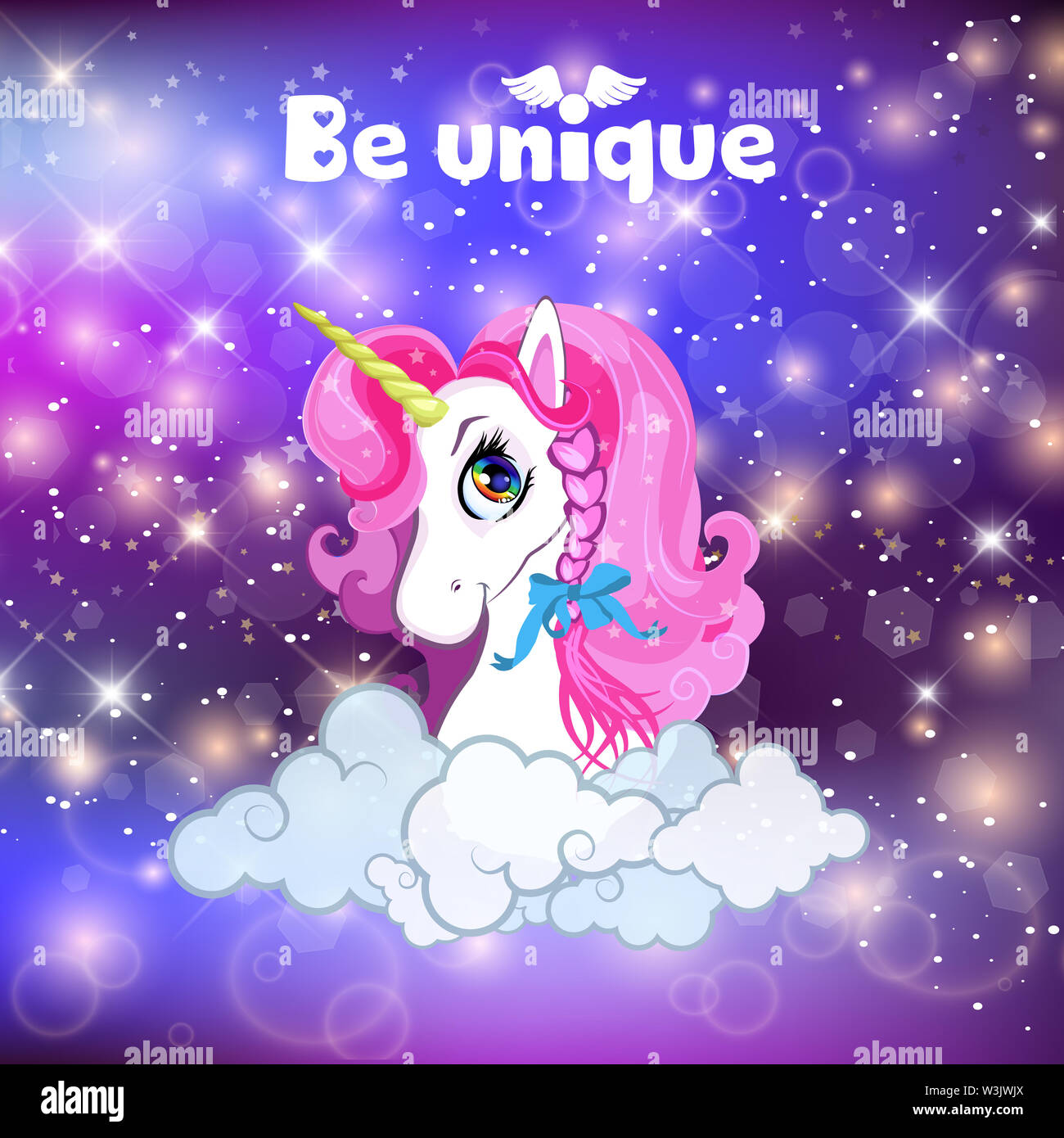 unicorn head with pink mane portrait on rainbow mesh kawaii universe galaxy space or night sky holographic background clouds magic sparkles stars W3JWJX