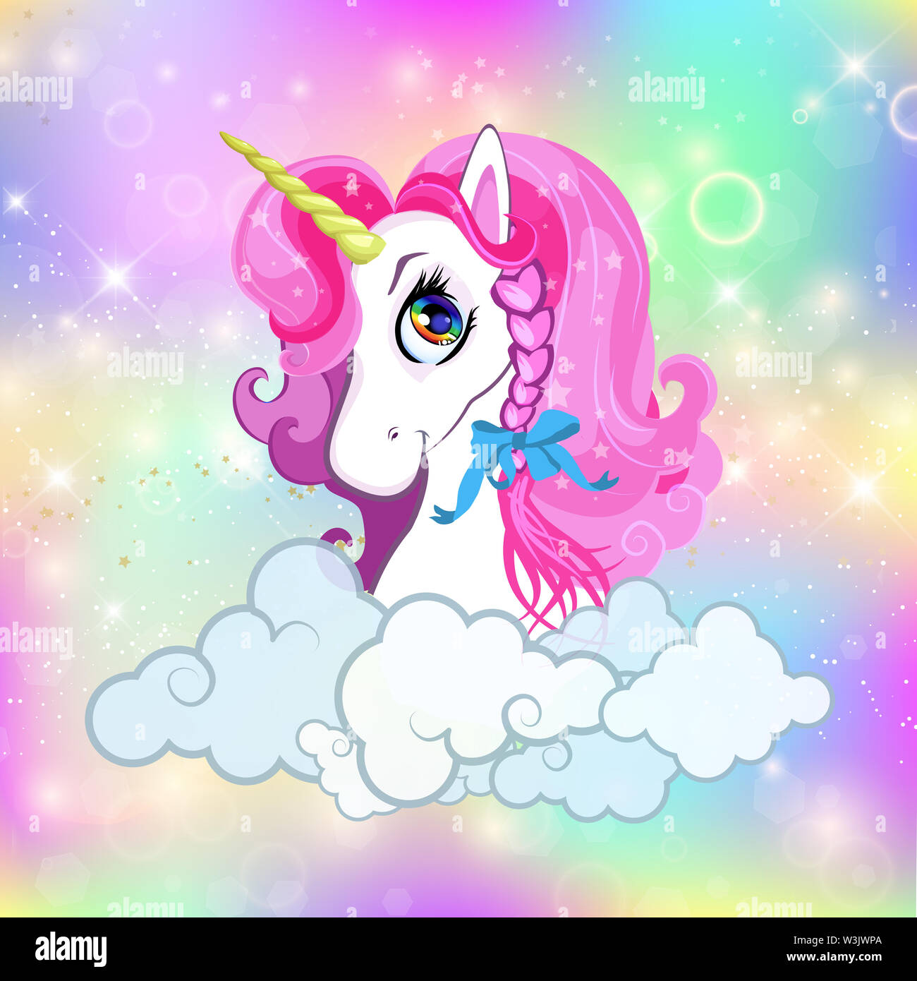 Unicorn With Rainbow Clouds Stars High Resolution Stock Photography And Images Alamy