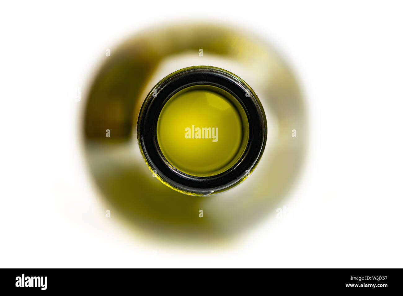 Bottleneck, macro, close up. Neck of empty used bottle of wine or beer. Isolated for design. - Stock Image