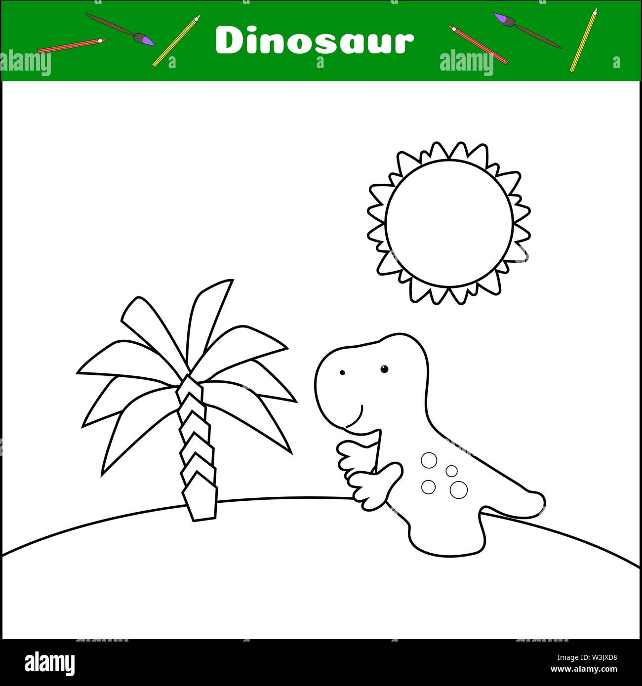 Coloring with dino. Print this page. Dinosaur, palm and sun. A simple worksheet for preschoolers. Tyrannosaurus cartoon character. Funny prehistoric animal. vector illustration. Educational card game. Leisure for children Stock Vector