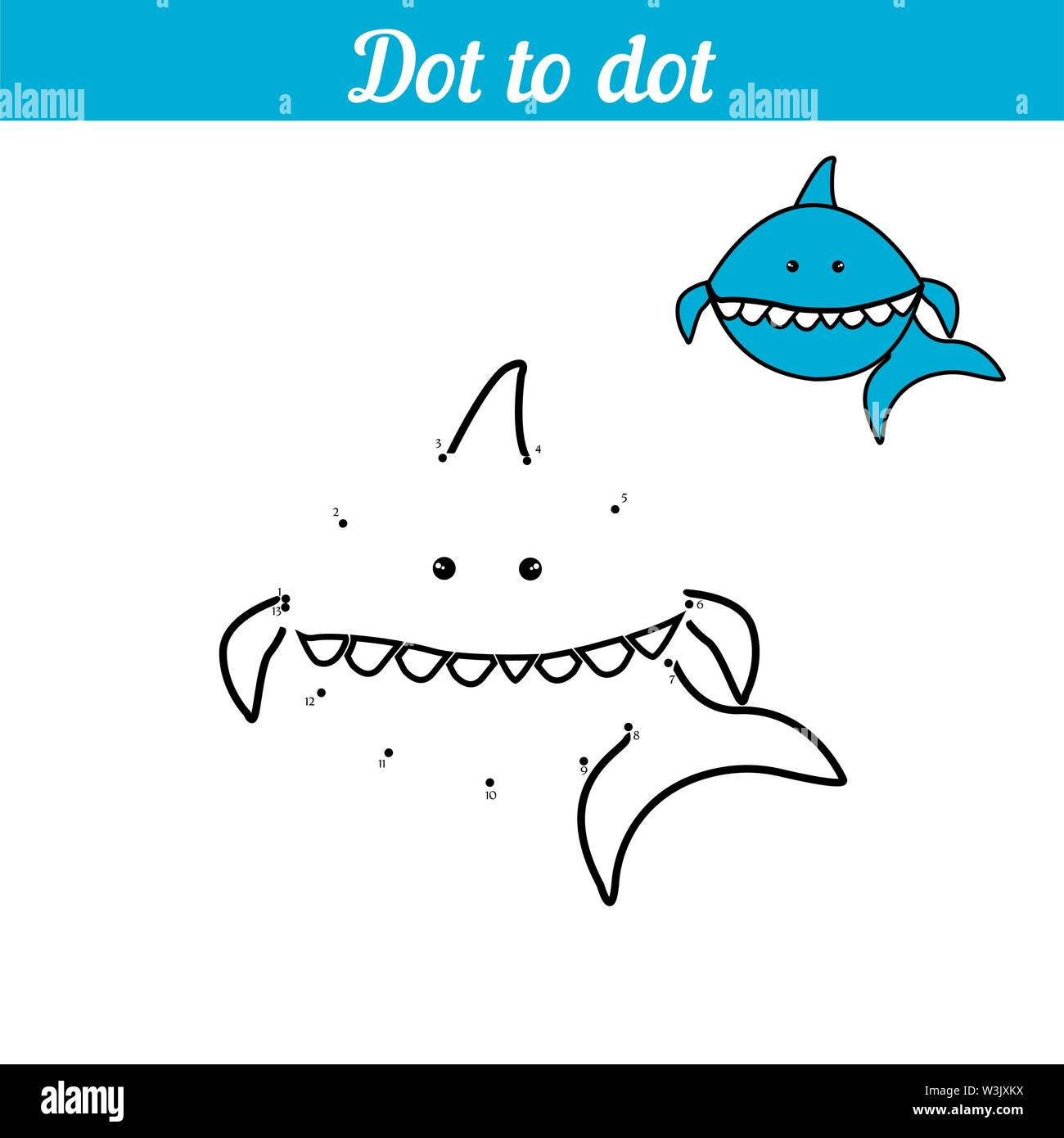 Shark Coloring Game By Numbers Connect The Dots Educational Card For Preschoolers Sea Page With Funny Cartoon Character With An Example Simple Illustration For The Little Ones Marine Animal Blue Shark