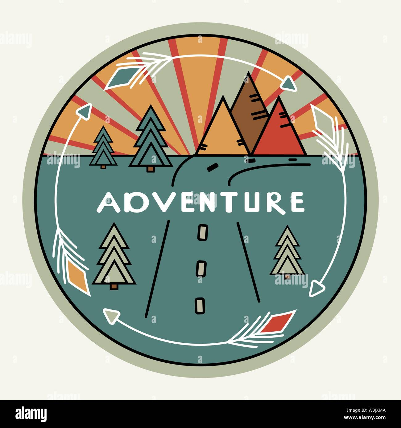 Round retro or vintage style. Outdoor decor for cars, travel. Mountains, pines, sunset. Inscription Adventure. The emblem of tourism. The symbol of the road. Club label for prints, clothes. Inspiring logo illustration. White arrows, gray background - Stock Image
