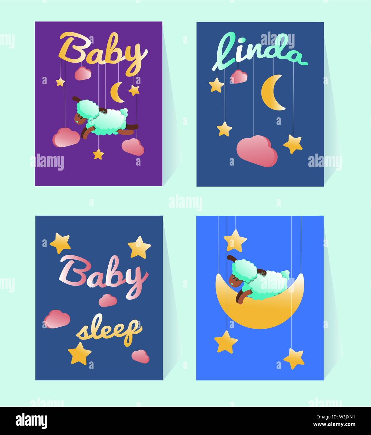 Template Baby Shower Postcards With A Sheep Moon Stars