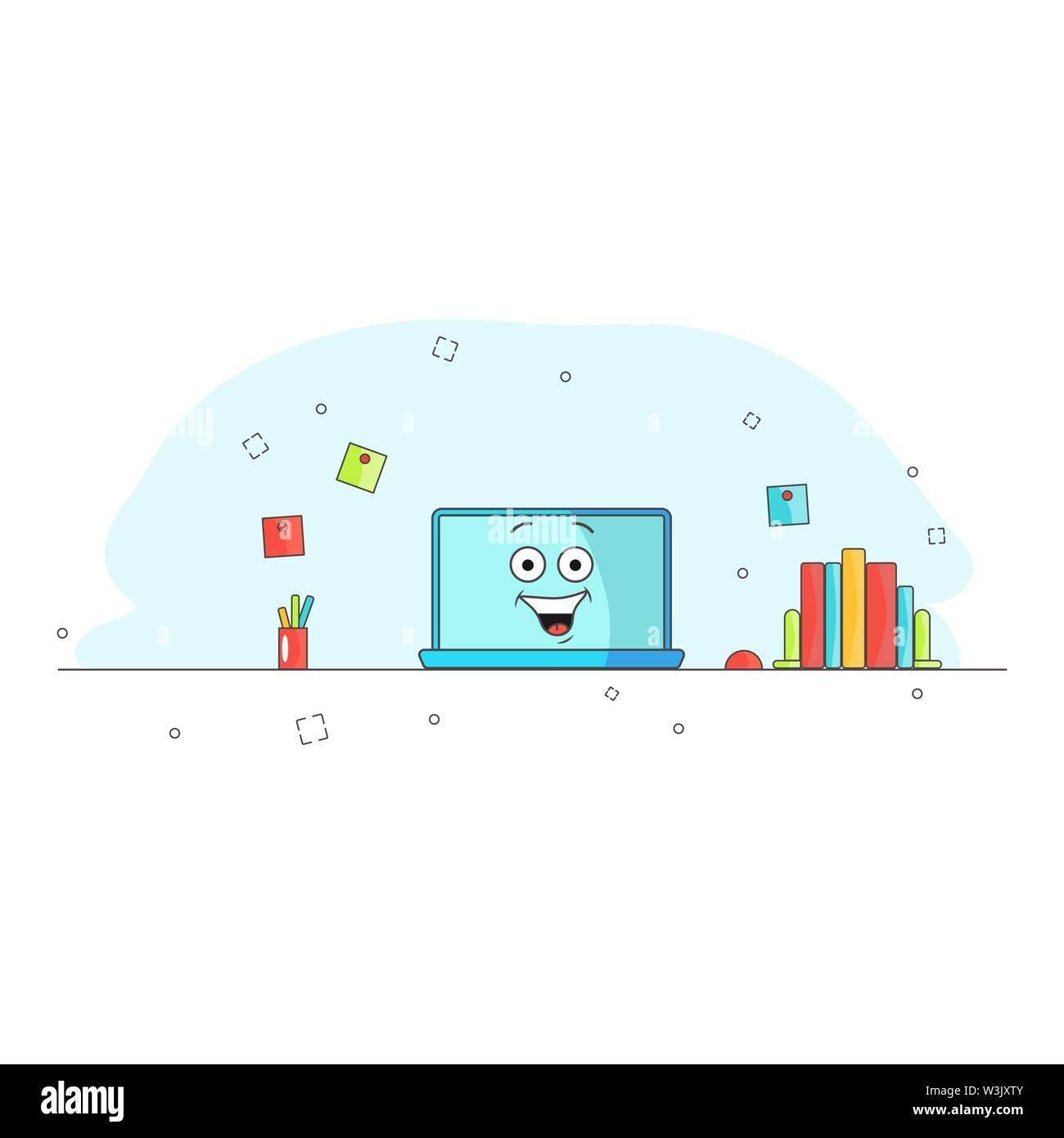 Computer repaired. Funny cartoon computer character rejoices and laughs. Workspace. Assisted. Vector illustration for blog, website, banner. Blue background. Office equipment. Thumbs up. Emotional laptop Stock Vector