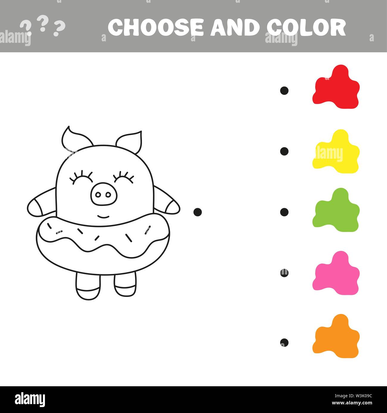 Funny pig with donut. Coloring book drawing game Stock ...