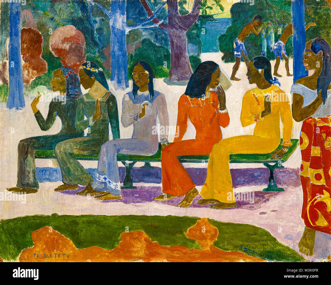 Paul Gauguin, Ta Matete, We Shall Not Go to the Market Today, painting, 1892 - Stock Image