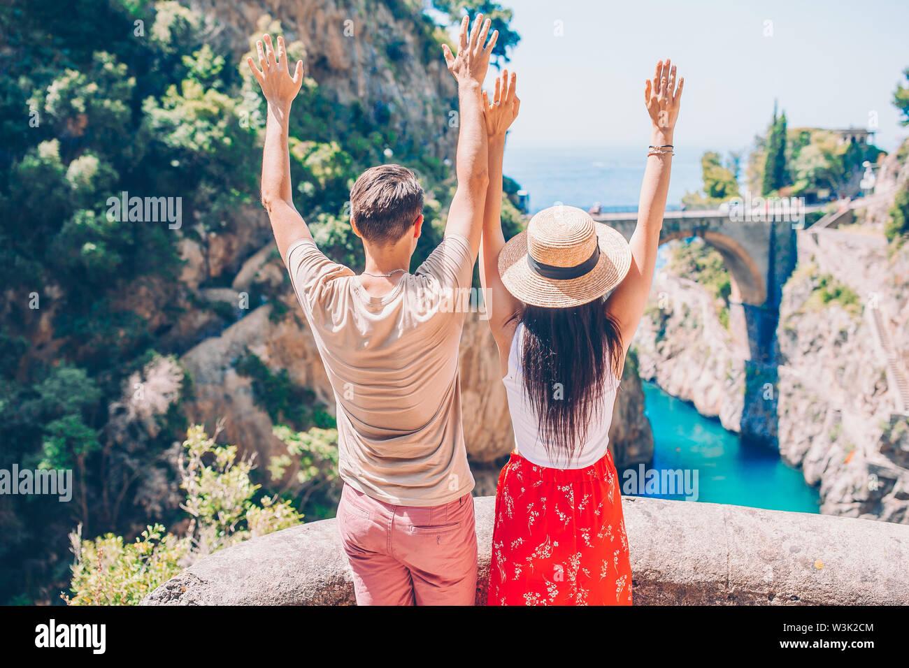 Famous fiordo di furore beach seen from bridge. - Stock Image