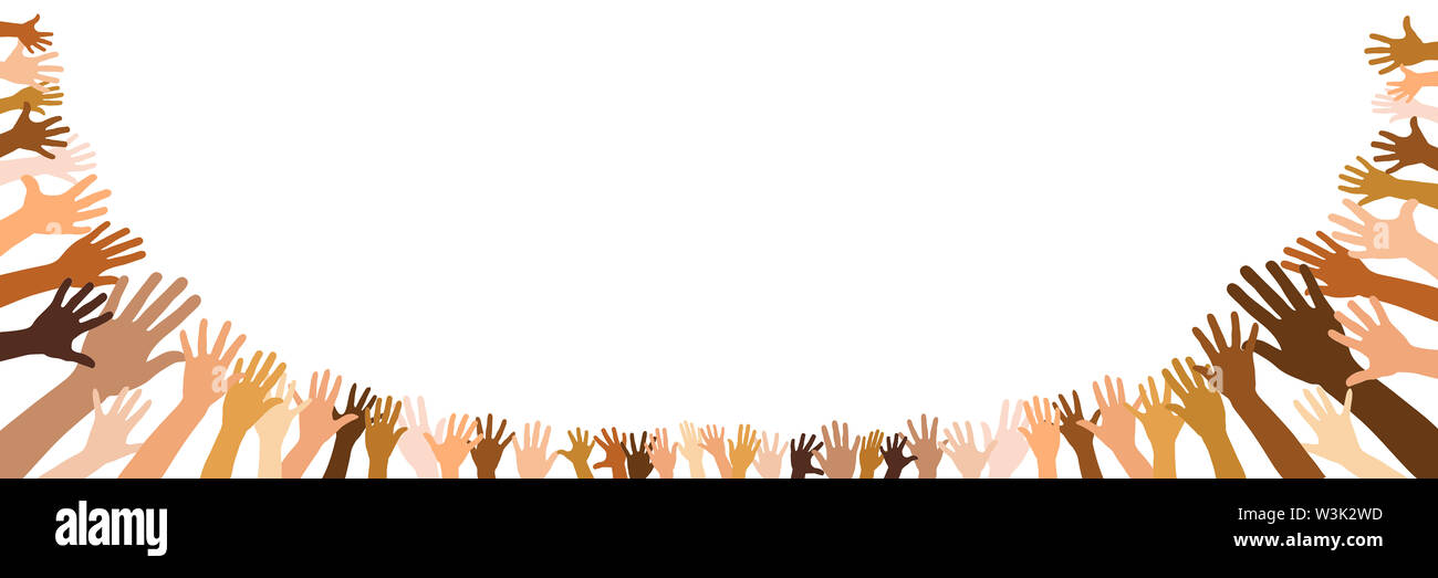 Panorama banner with semicircle of diverse outstretched hands as a team and community concept - Stock Image