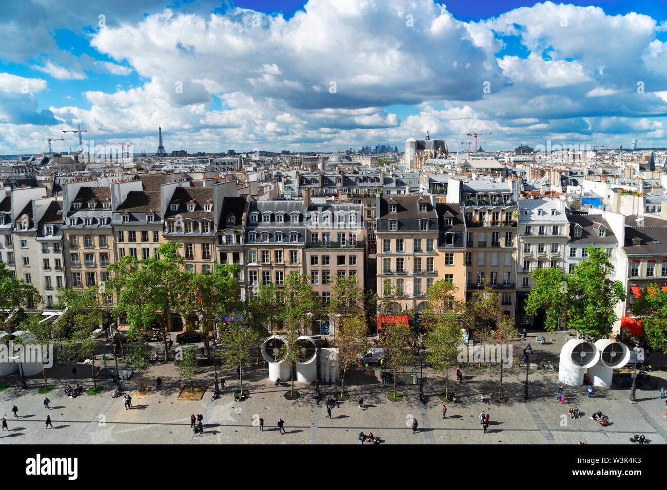 Square of Georges Pompidou, Paris - Stock Image