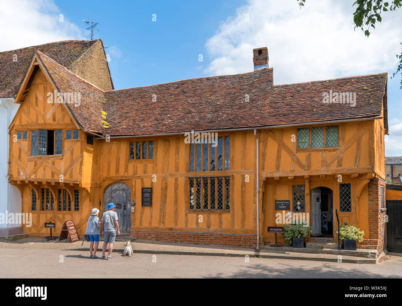 Little Hall, a late 14thC timber-famed house in the Market Place, Lavenham, Suffolk, England, UK - Stock Image