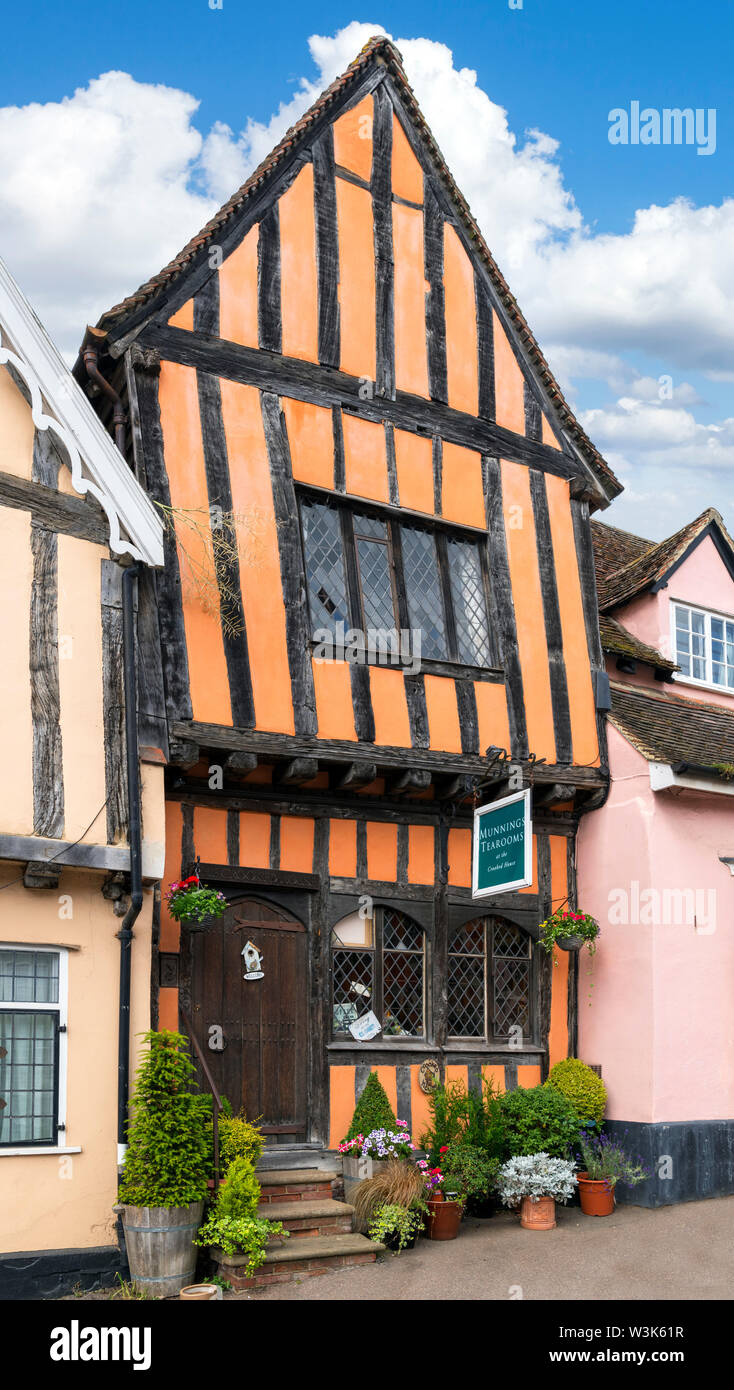 Munnings Tea Rooms at the Crooked House, High Street, Lavenham, Suffolk, England, UK - Stock Image