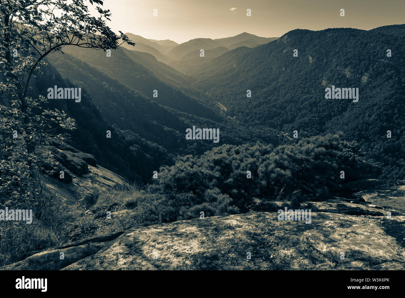 The view up Hickory Nut Gorge from Exclamation Point above Chimney Rock, North Carolina, USA. - Stock Image
