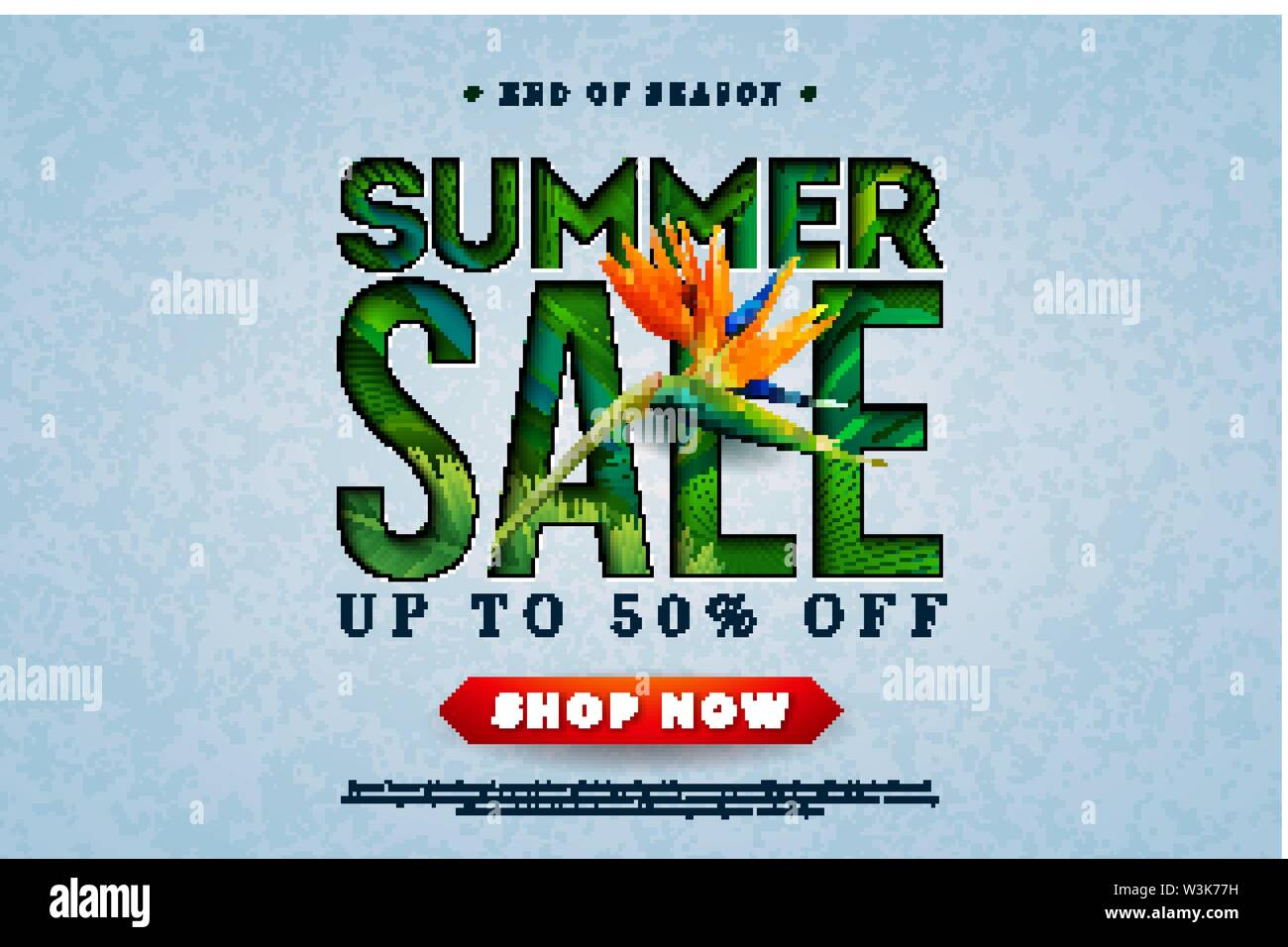Summer Sale Design with Toucan Bird, Tropical Palm Leaves and Flower on Green Background. Vector Special Offer Illustration with Summer Holiday - Stock Image