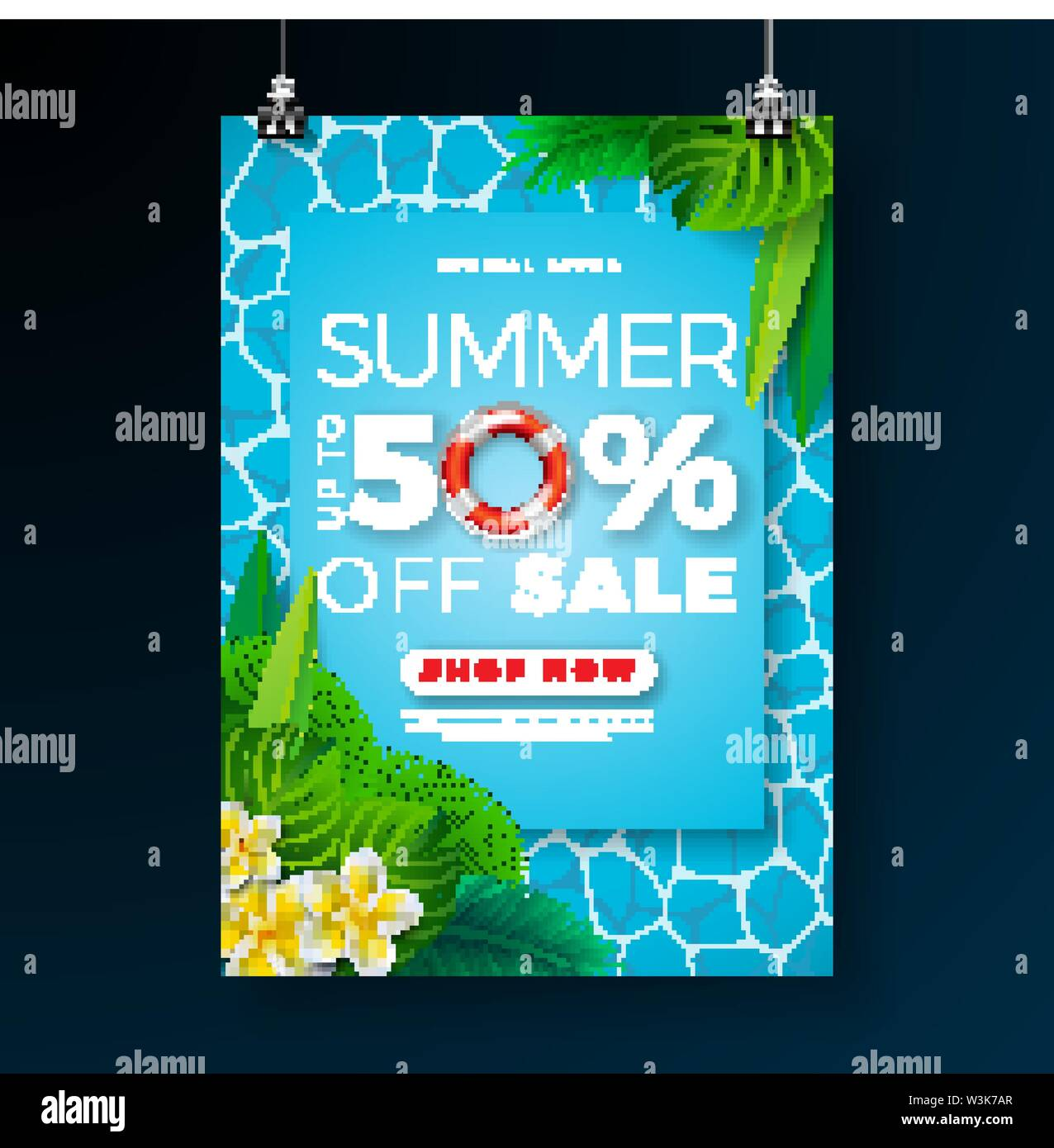 Summer Sale Poster Design Template with Flower, Beach Holiday Elements and Exotic Leaves on Pool Background. Tropical Floral Vector Illustration with - Stock Image