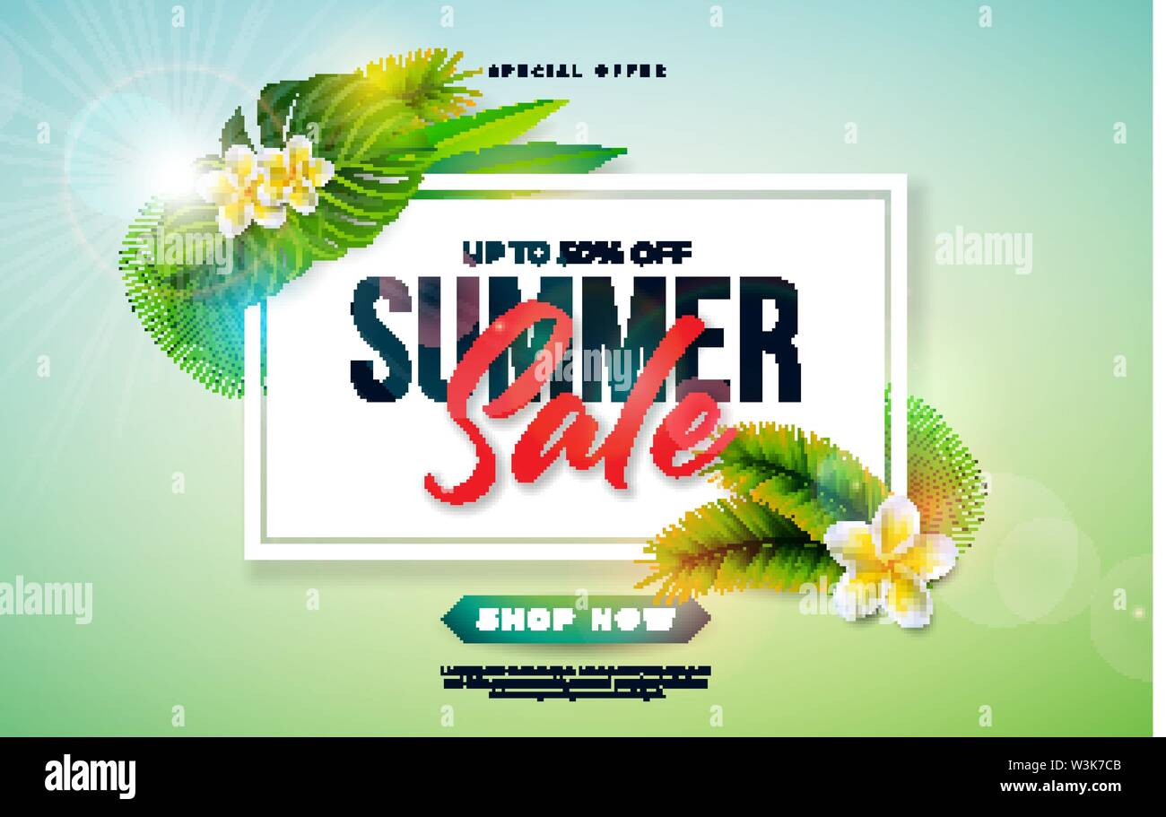 Summer Sale Design with Flower and Exotic Palm Leaves on Green Background. Tropical Vector Special Offer Illustration with Typography Letter for - Stock Image