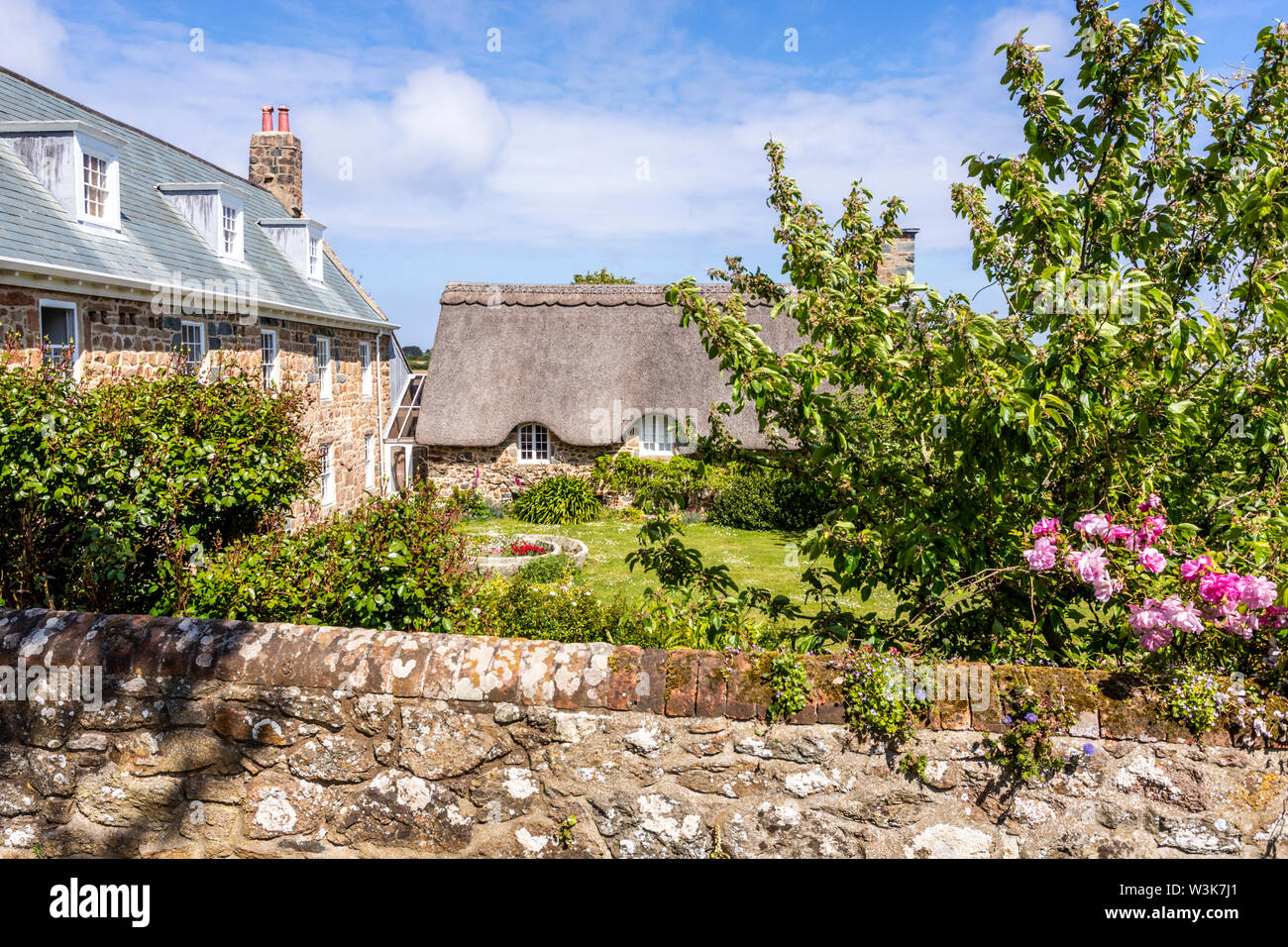 Saints Farm, a restored traditional farmhouse at Icart, Guernsey, Channel Islands UK Stock Photo