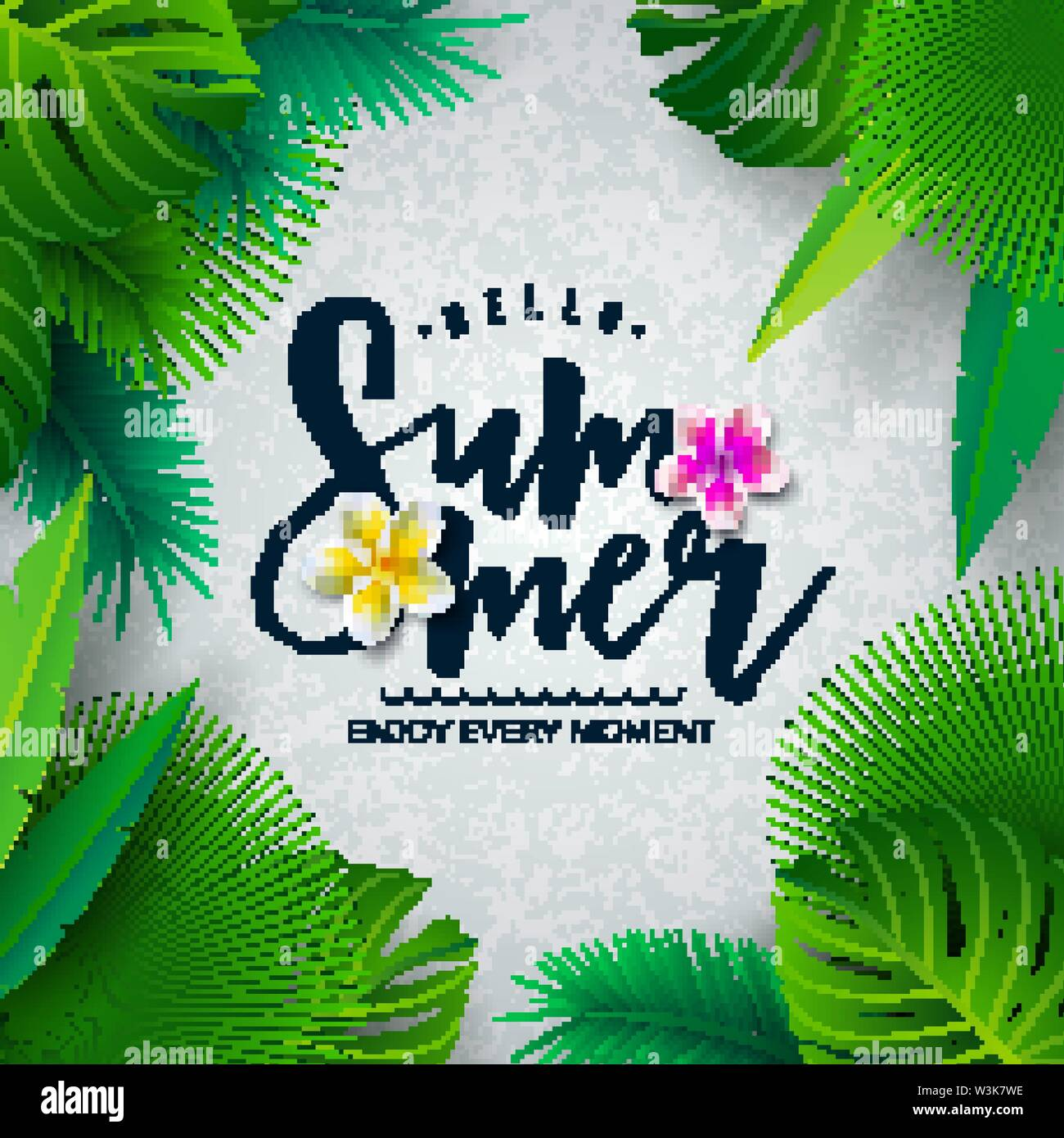 Vector Hello Summer Illustration with Typography Letter and Tropical Palm Leaves on White Background. Exotic Plants and Flower for Holiday Banner - Stock Image