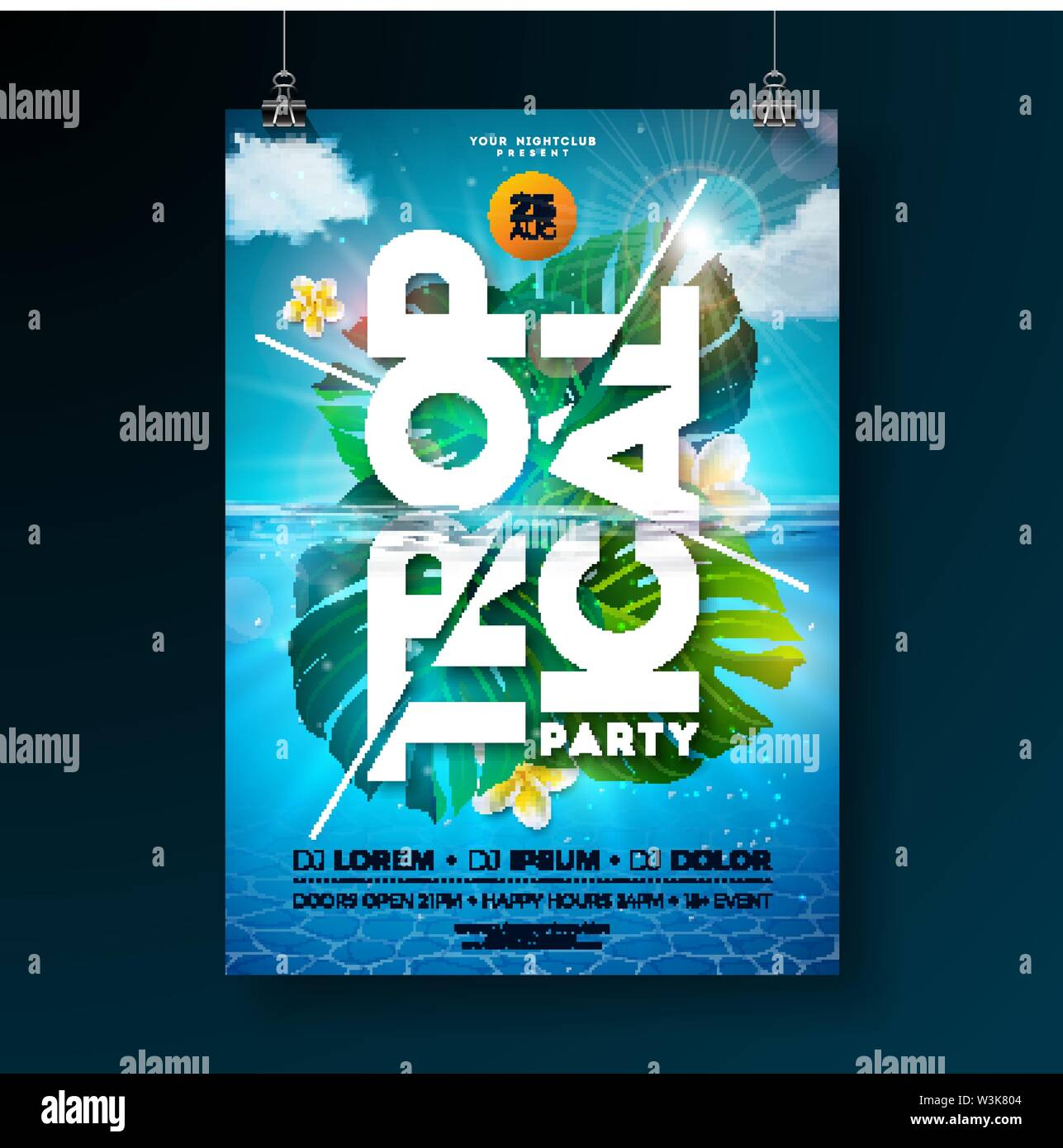 Tropical Summer Party Flyer Design Template with exotic palm leaves and flower on blue underwater ocean background. Vector holiday illustration for - Stock Image