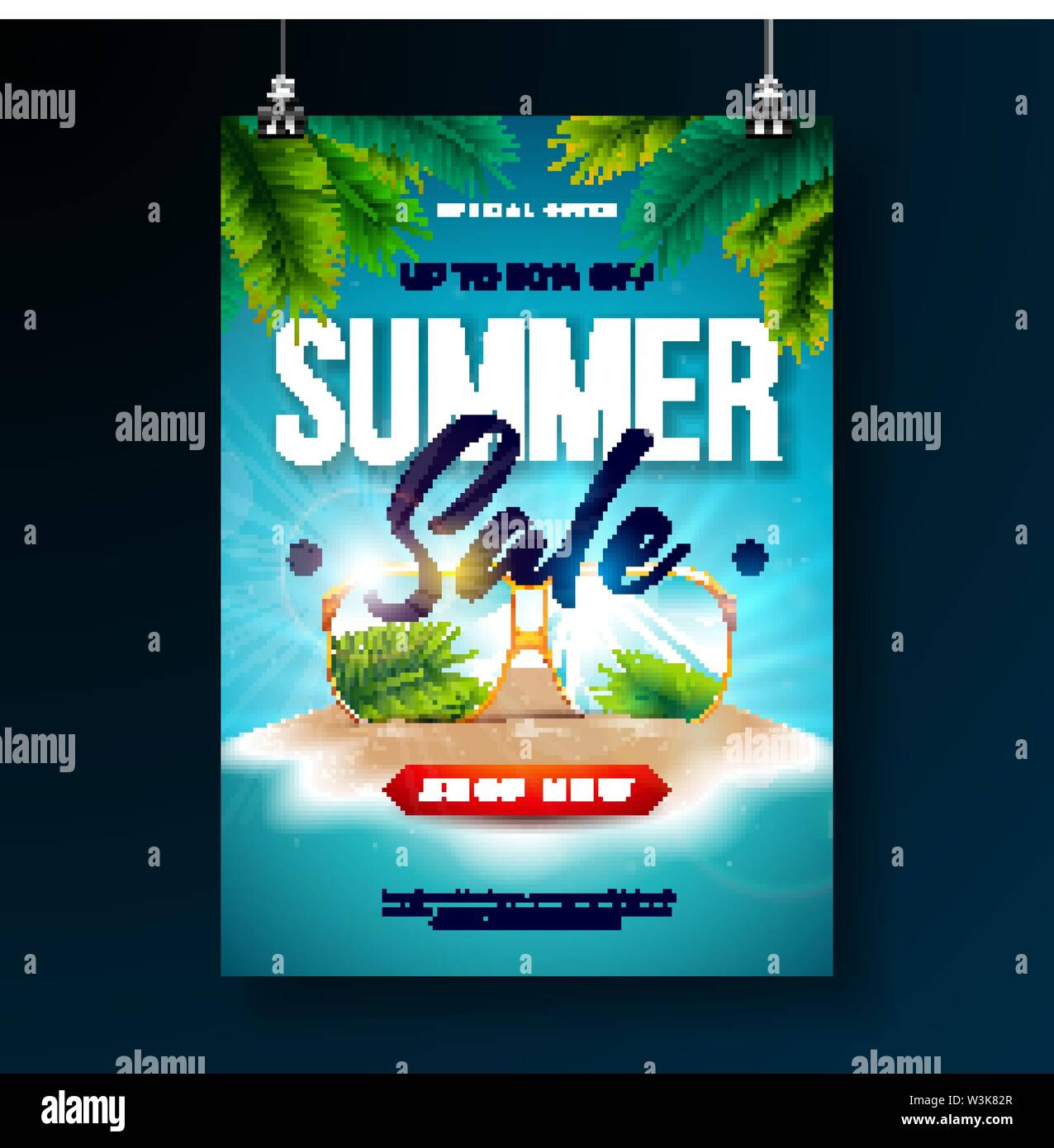 Summer Sale Poster Design Template with Exotic Palm Leaves and Sunglasses on Tropical Island Background. Vector Special Offer Illustration with Blue - Stock Image