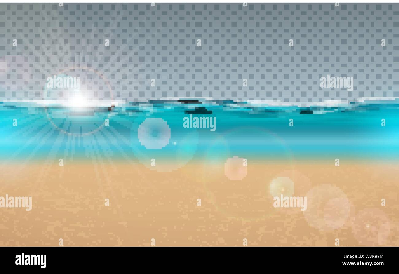 Vector blue ocean landscape design with transparent background. Summer illustration with sea scene and sandy beach for banner, flyer, invitation - Stock Image