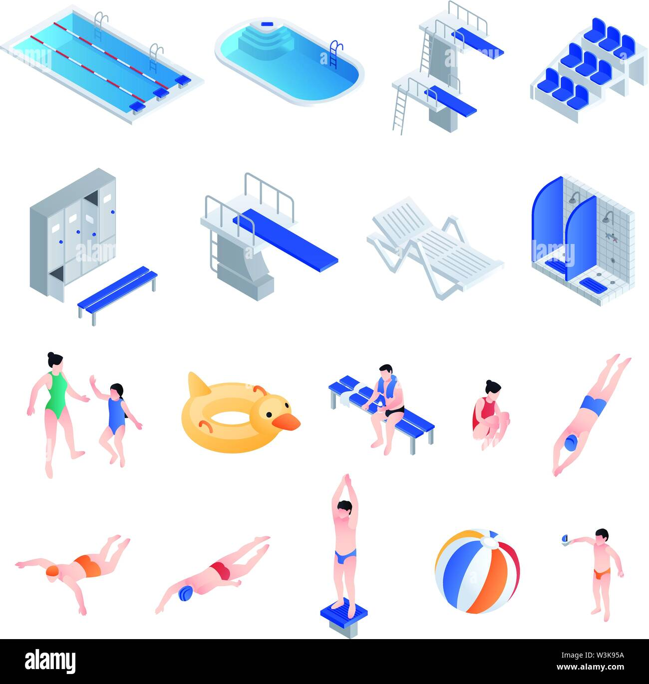 Pool equipment icons set. Isometric set of pool equipment vector icons for web design isolated on white background - Stock Image