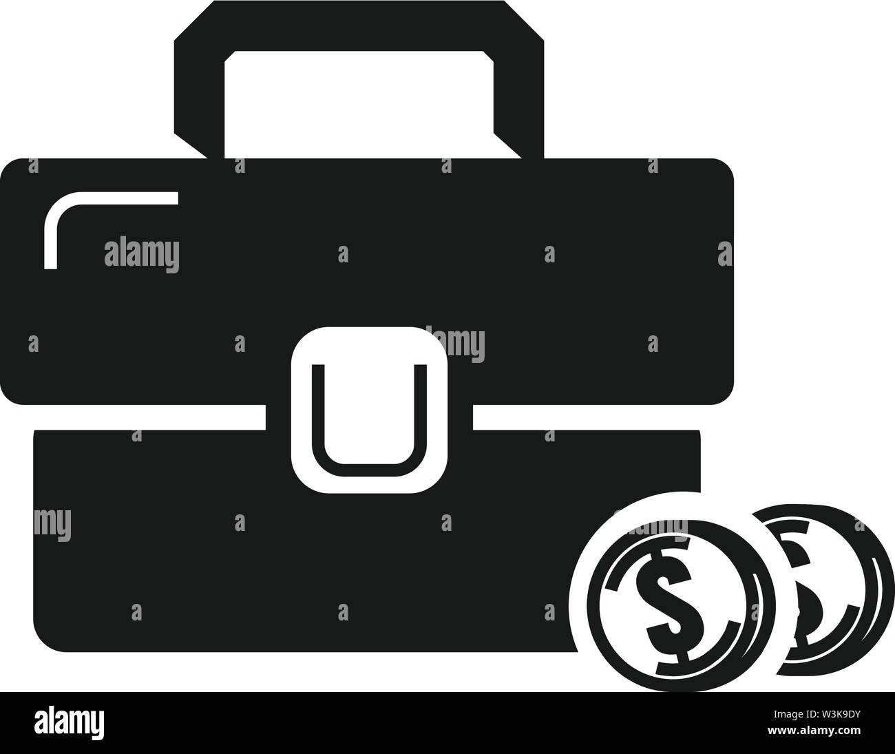 Money case icon. Simple illustration of money case vector icon for web design isolated on white background - Stock Image