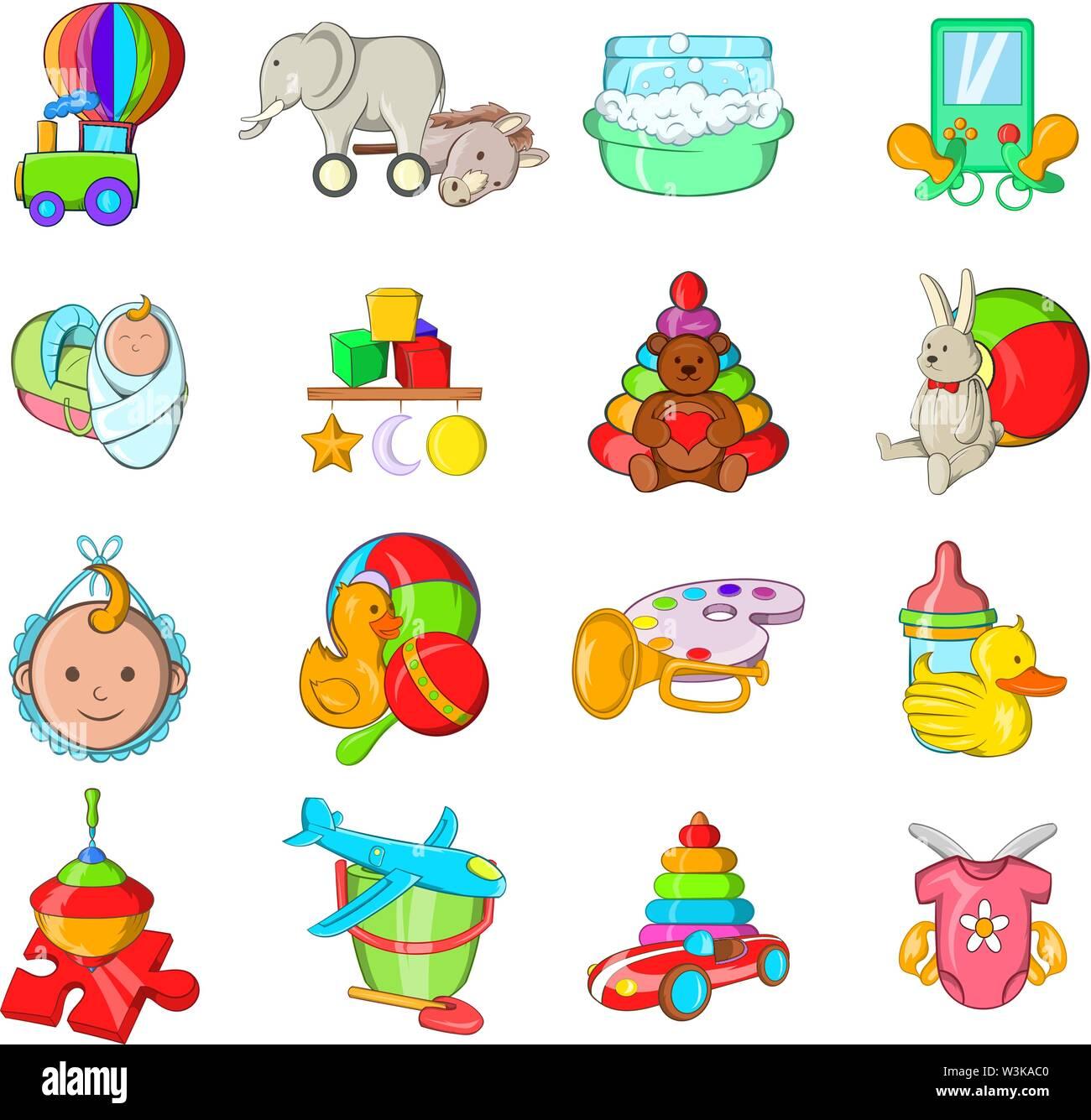 Childish icons set, cartoon style - Stock Image