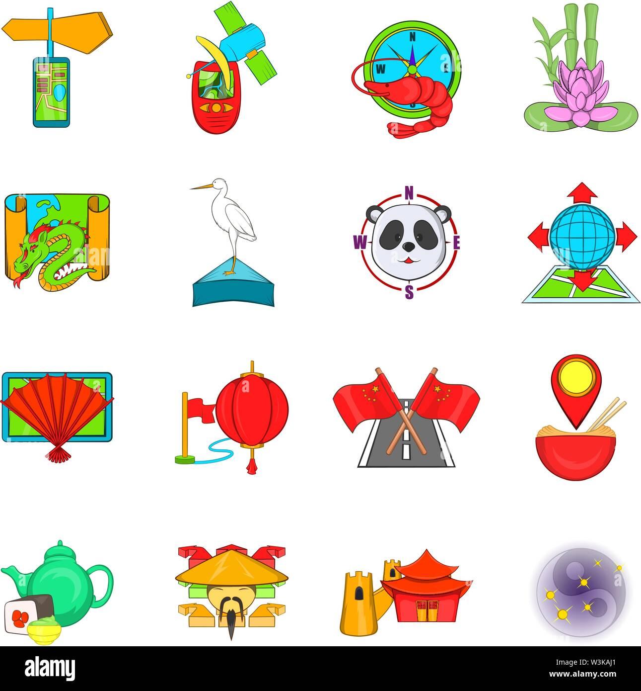 Asia travel icons set, cartoon style - Stock Image