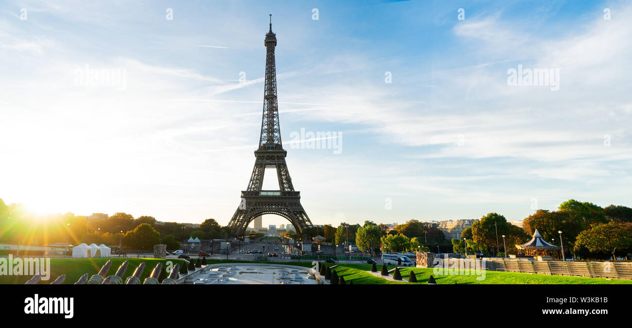 Eiffel Tower from Trocadero at sunrise, Paris, France, web banner - Stock Image