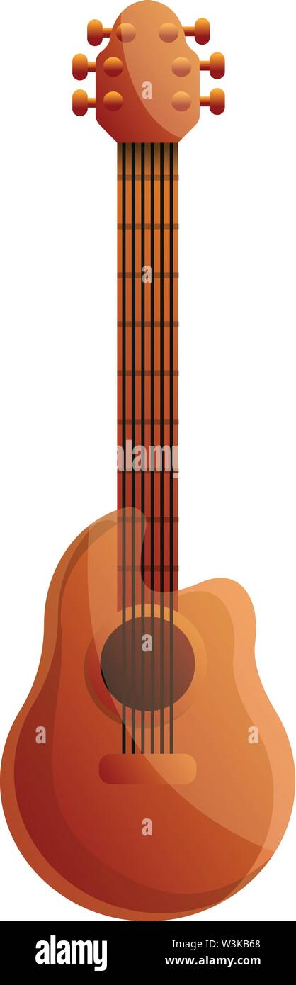 Brazil acoustic guitar icon. Cartoon of brazil acoustic guitar vector icon for web design isolated on white background Stock Vector