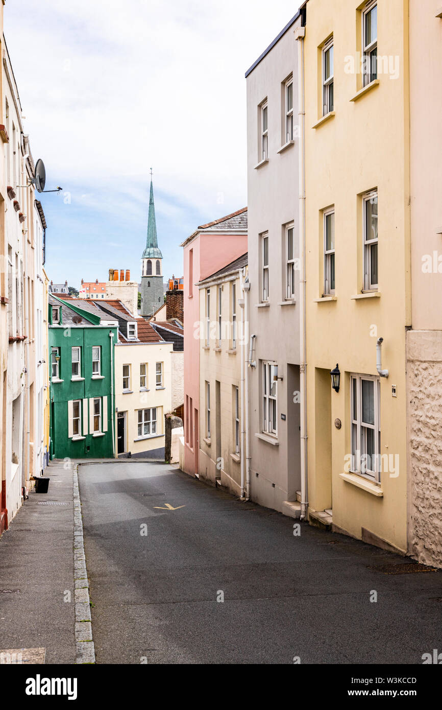 George Street, one of the steep side streets in St Peter Port, Guernsey, Channel Islands UK Stock Photo
