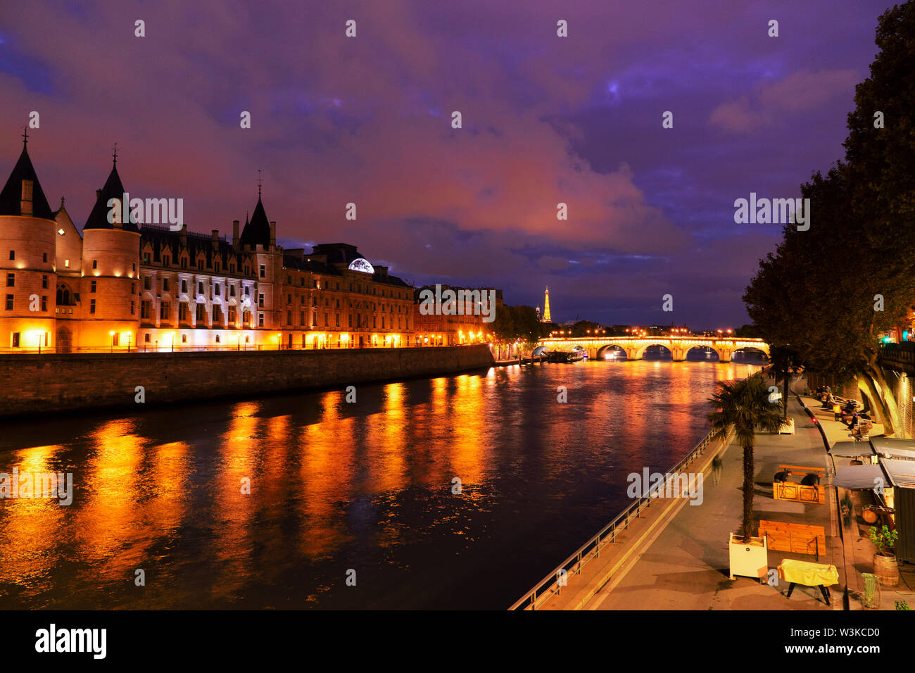 Pont Neuf and Cite island over Seine river with Paris cityscape at night, France - Stock Image