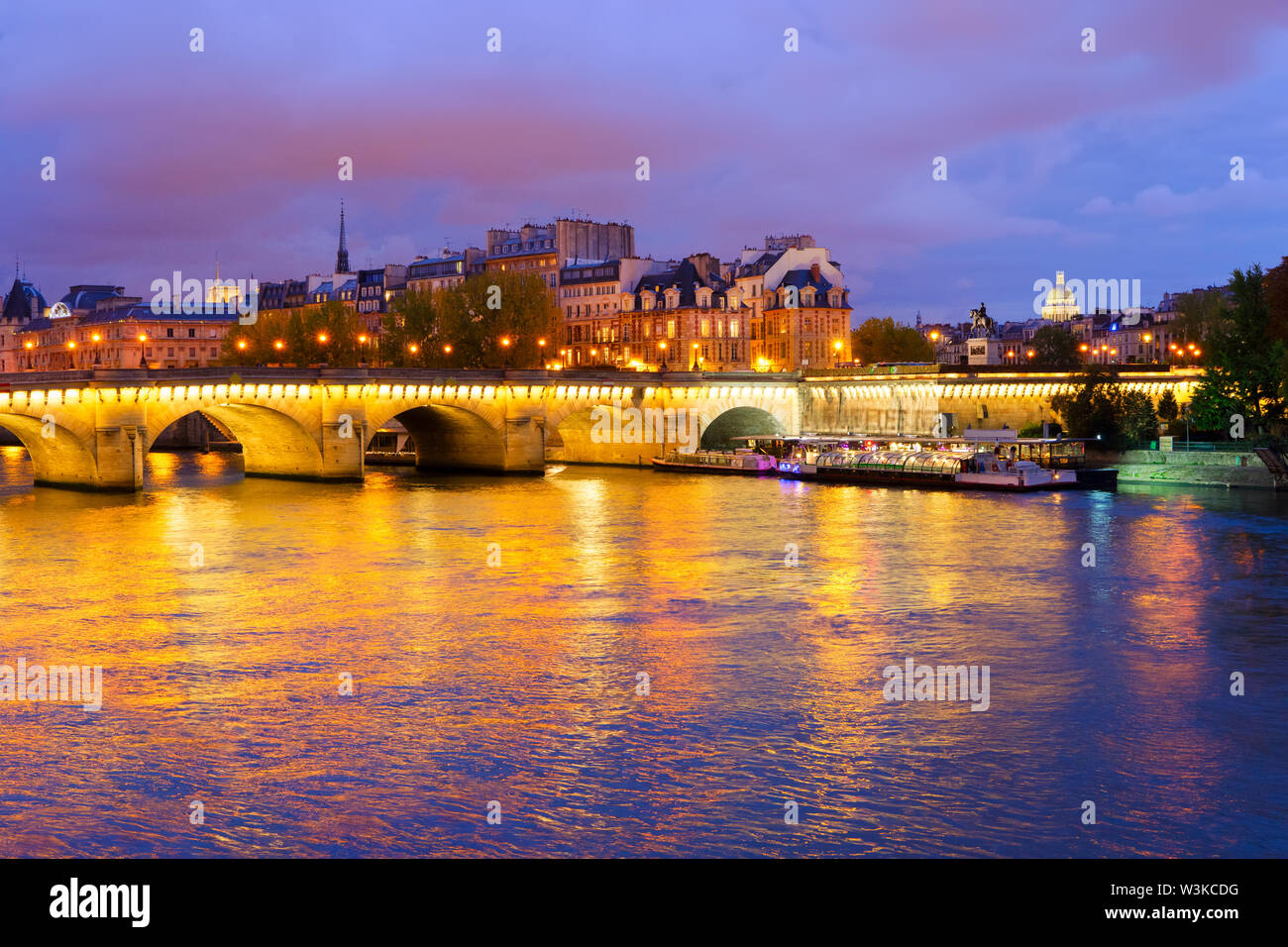 Pont Neuf and Cite island over Seine at night, Paris, France - Stock Image